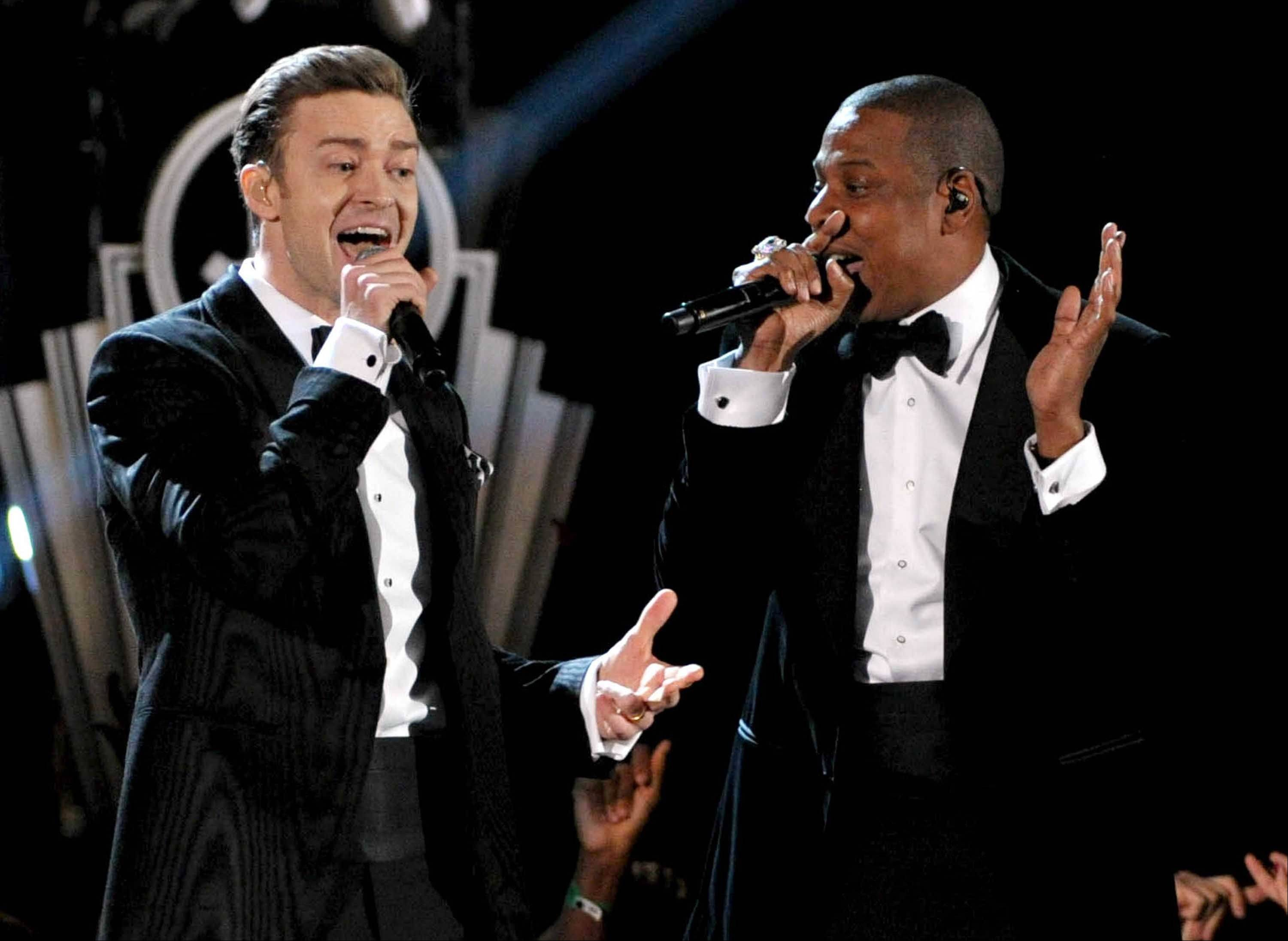 Justin Timberlake and Jay-Z, here performing at the 55th annual Grammy Awards, announced their 12-city Legends of the Summer tour beginning July 17 in Toronto and stopping at Soldier Field on July 22.