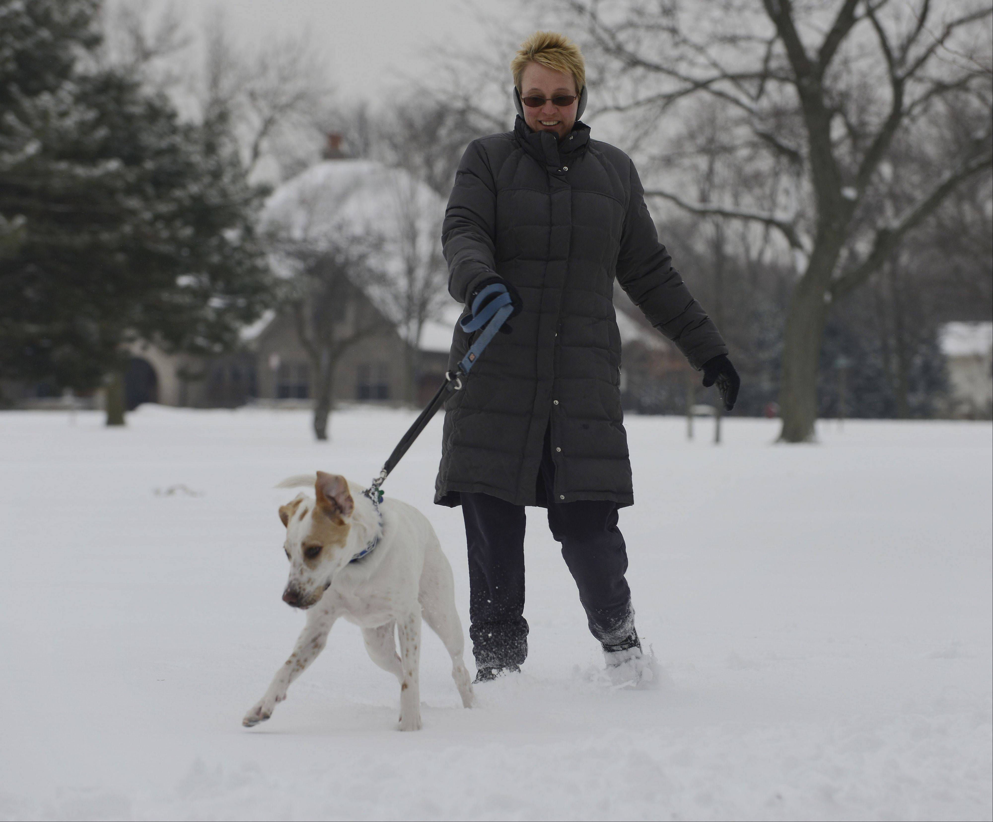 "Cindy Bieda of Arlington Heights walks her dog ""Benny"" at Pioneer Park in Arlington Heights following Friday's overnight snowfall."