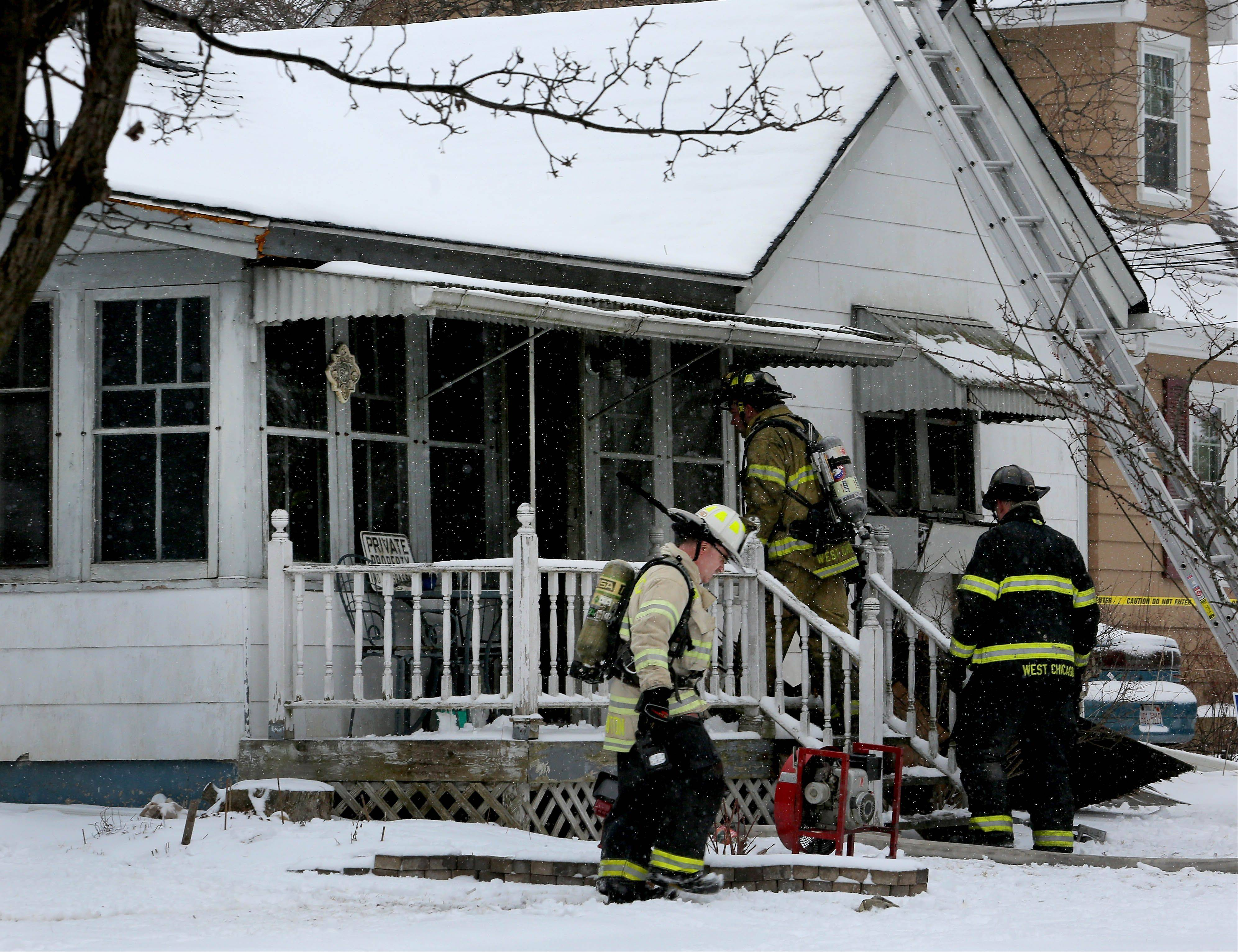 A woman died in a fire Friday morning at a single-family home in West Chicago.