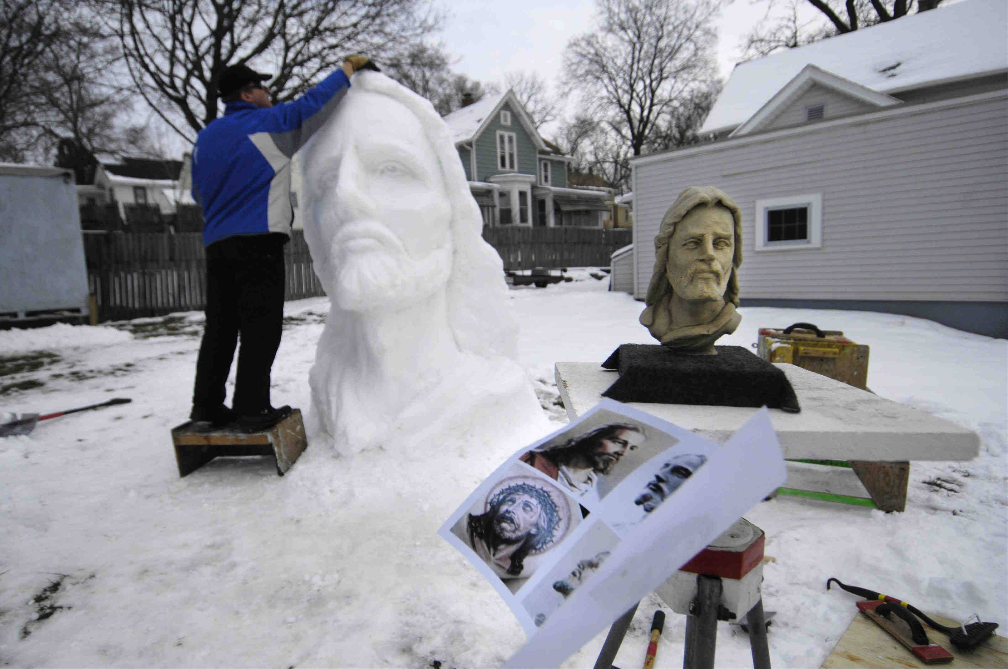 Volz also works in clay, bronze, cement, Styrofoam and other materials. For some of the more complicated snow sculptures, he first makes a 6-inch detailed clay model.