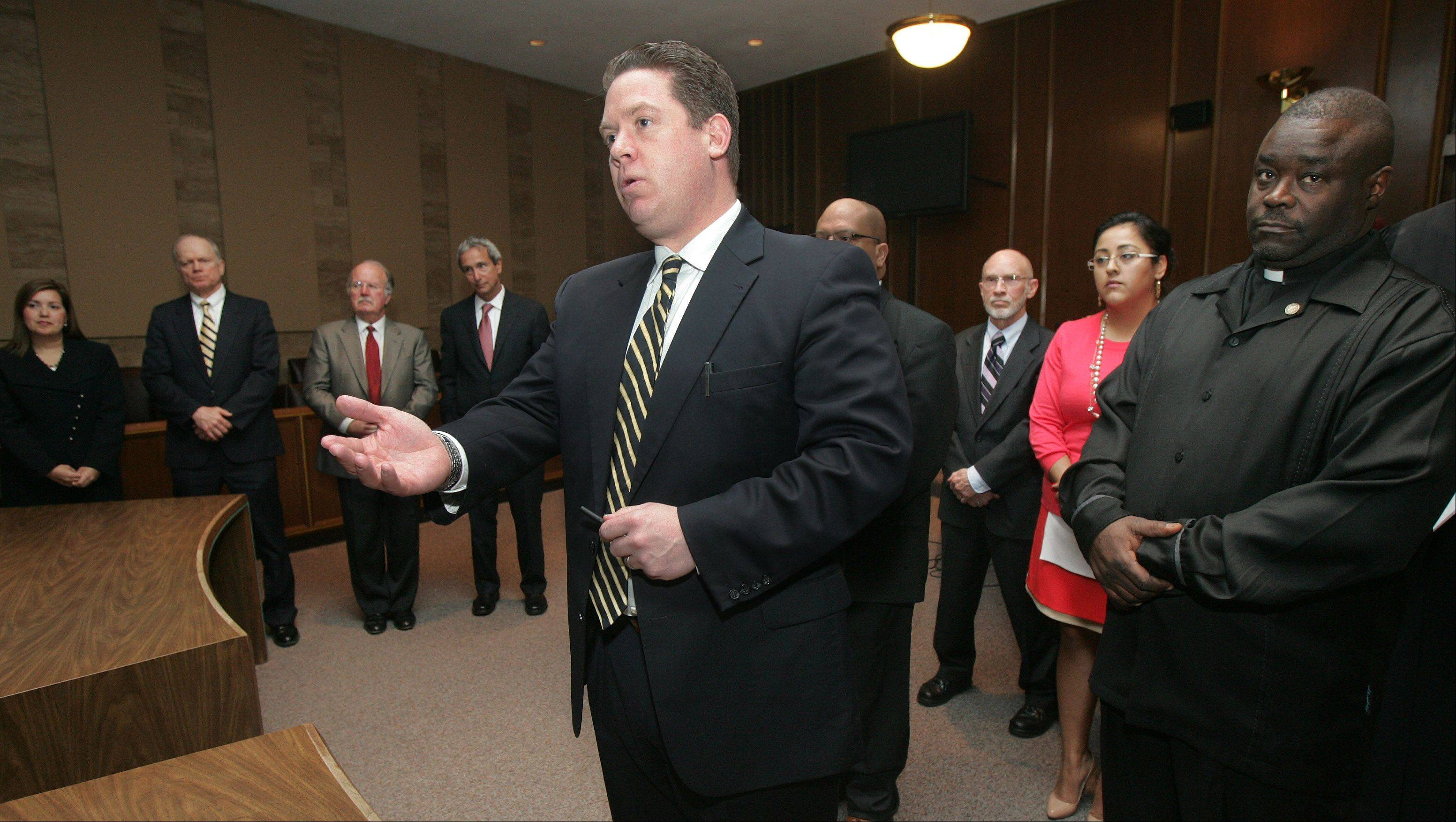 Lake County State's Attorney Mike Nerheim swore-in the all-volunteer Case Review Board and the Citizens Advisory Board Thursday at the Lake County Courthouse in Waukegan. The Board is independent of the Assistant State's Attorney's office and will review cases and make recommendations.