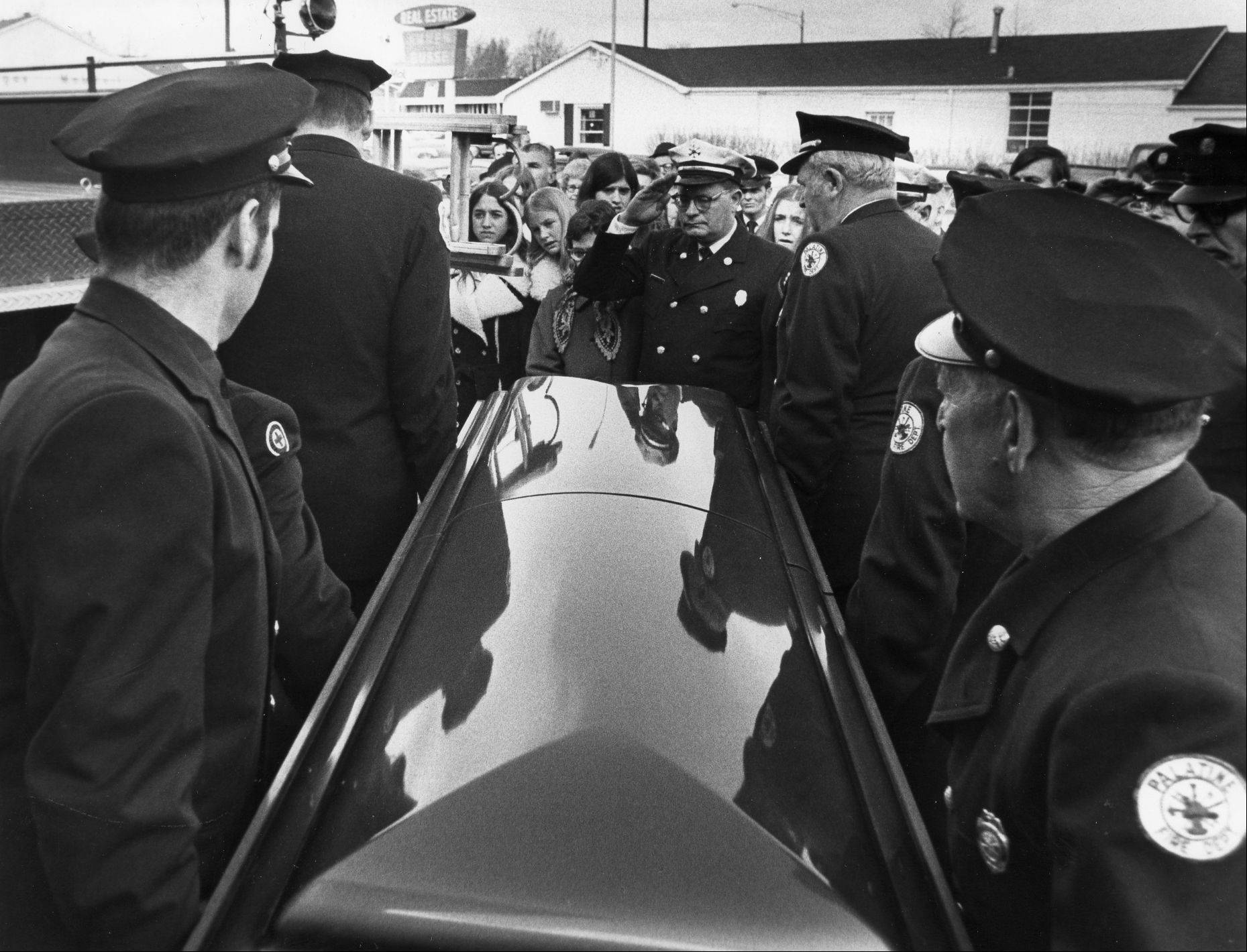 Firefighters attend the funeral of one of the three Palatine volunteer firefighters killed Feb. 23, 1973, in the Ben Franklin store fire.