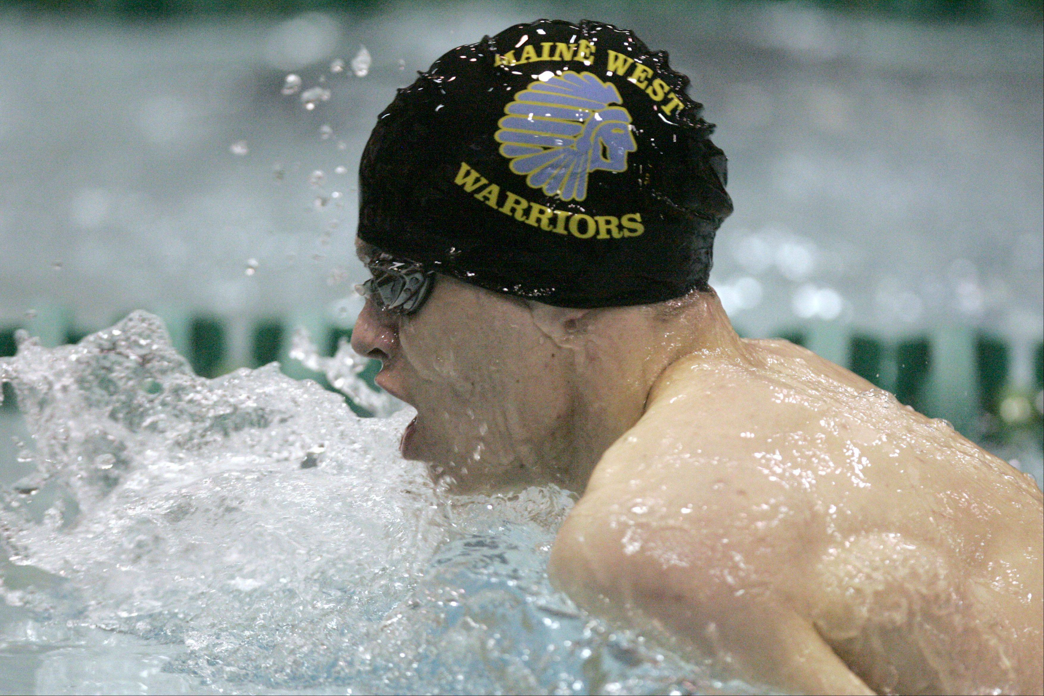 Brian Wasicak of Maine West competes in the 200-yard individual medley during the boys swimming state meet prelimiinaries at New Trier High School on Friday.