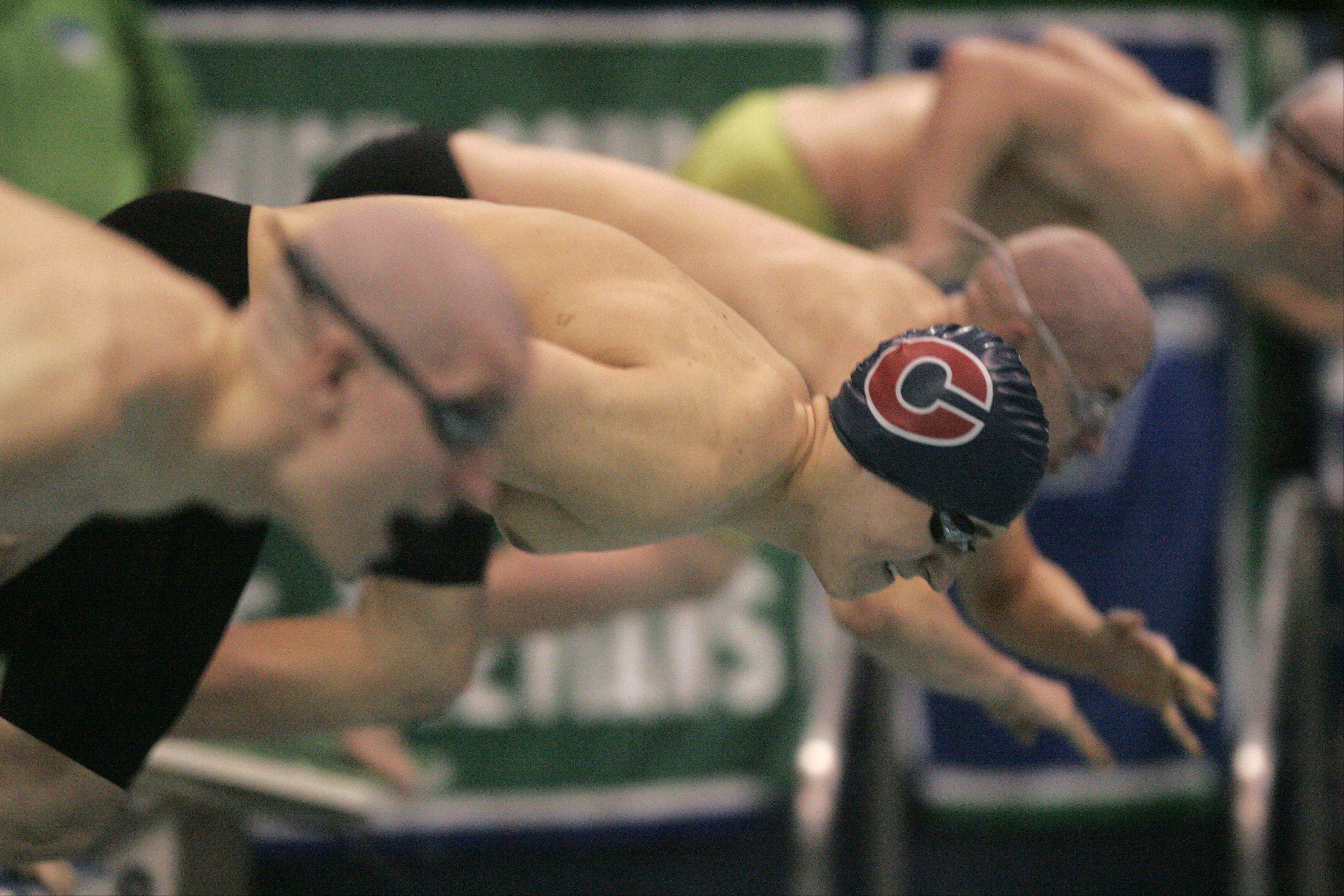 Alex Shozda of Conant launches off the blocks in the 100-yard freestyle during the boys swimming state meet prelimiinaries at New Trier High School on Friday.