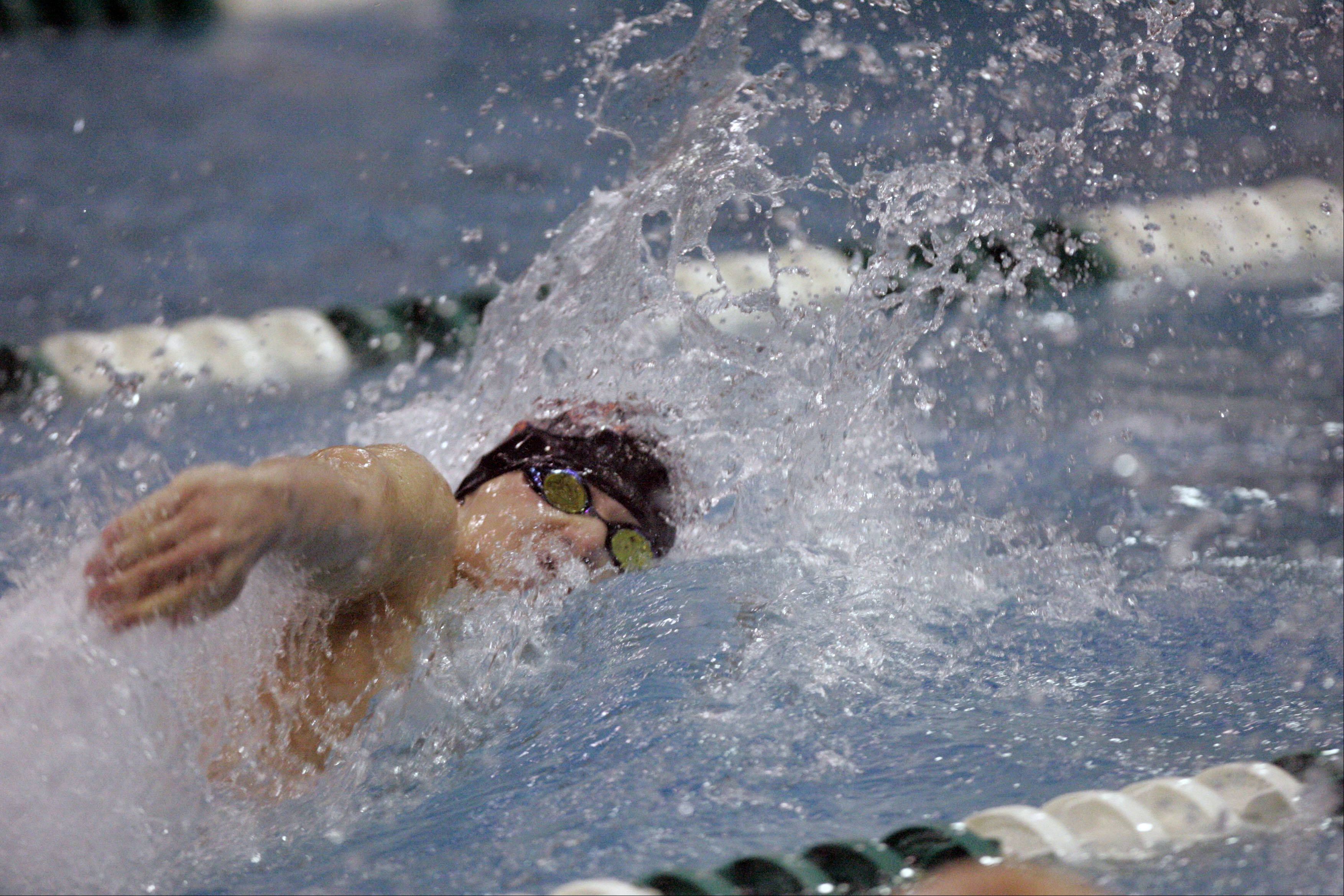 J.T. Simoneau of Wheaton North competes in the 100-yard freestyle during the IHSA State Swimming Prelims at New Trier High School in Winnetka Friday.