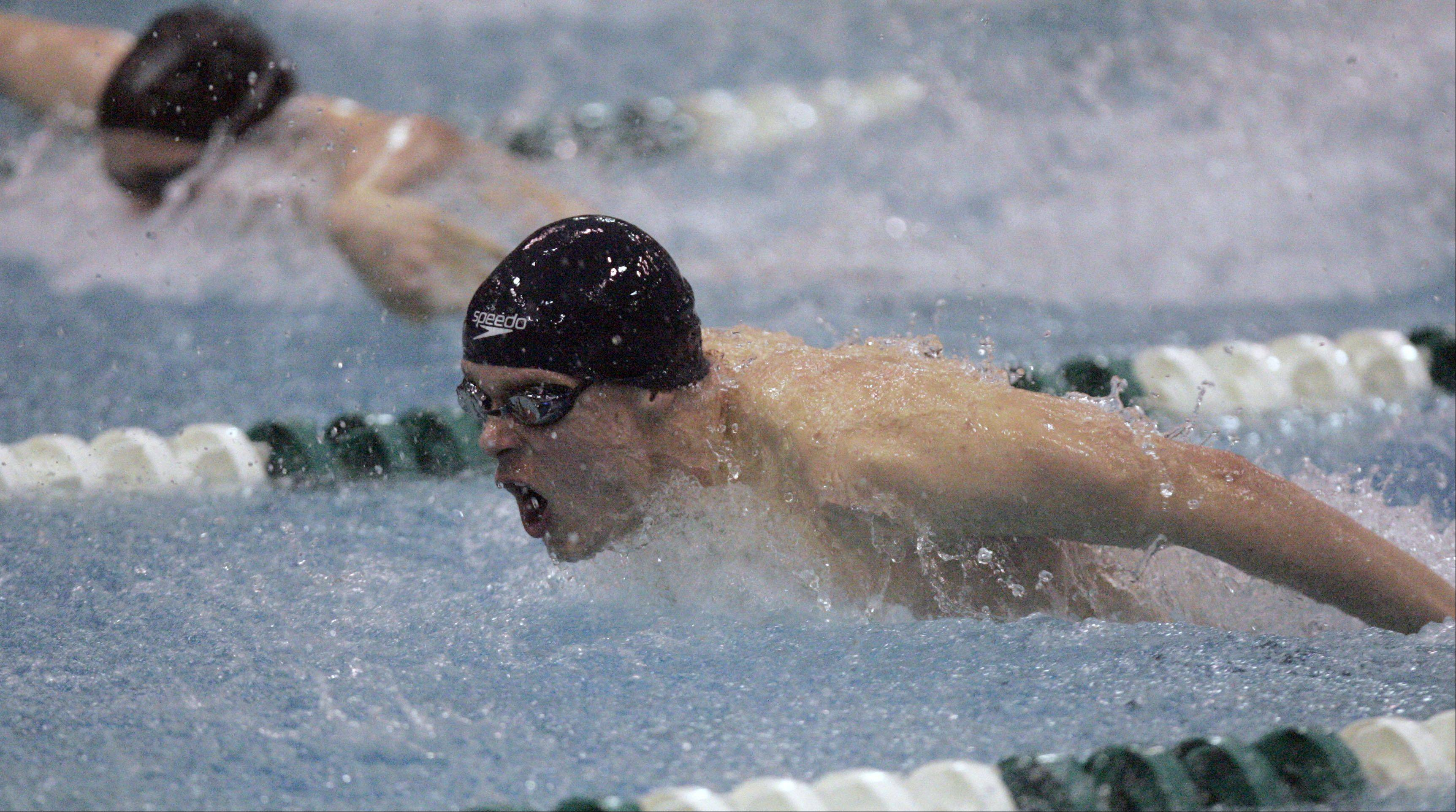 Michael Hamman of Cary-Grove competes in the 200-yard individual medley during the IHSA state swimming prelims at New Trier High School in Winnetka Friday.