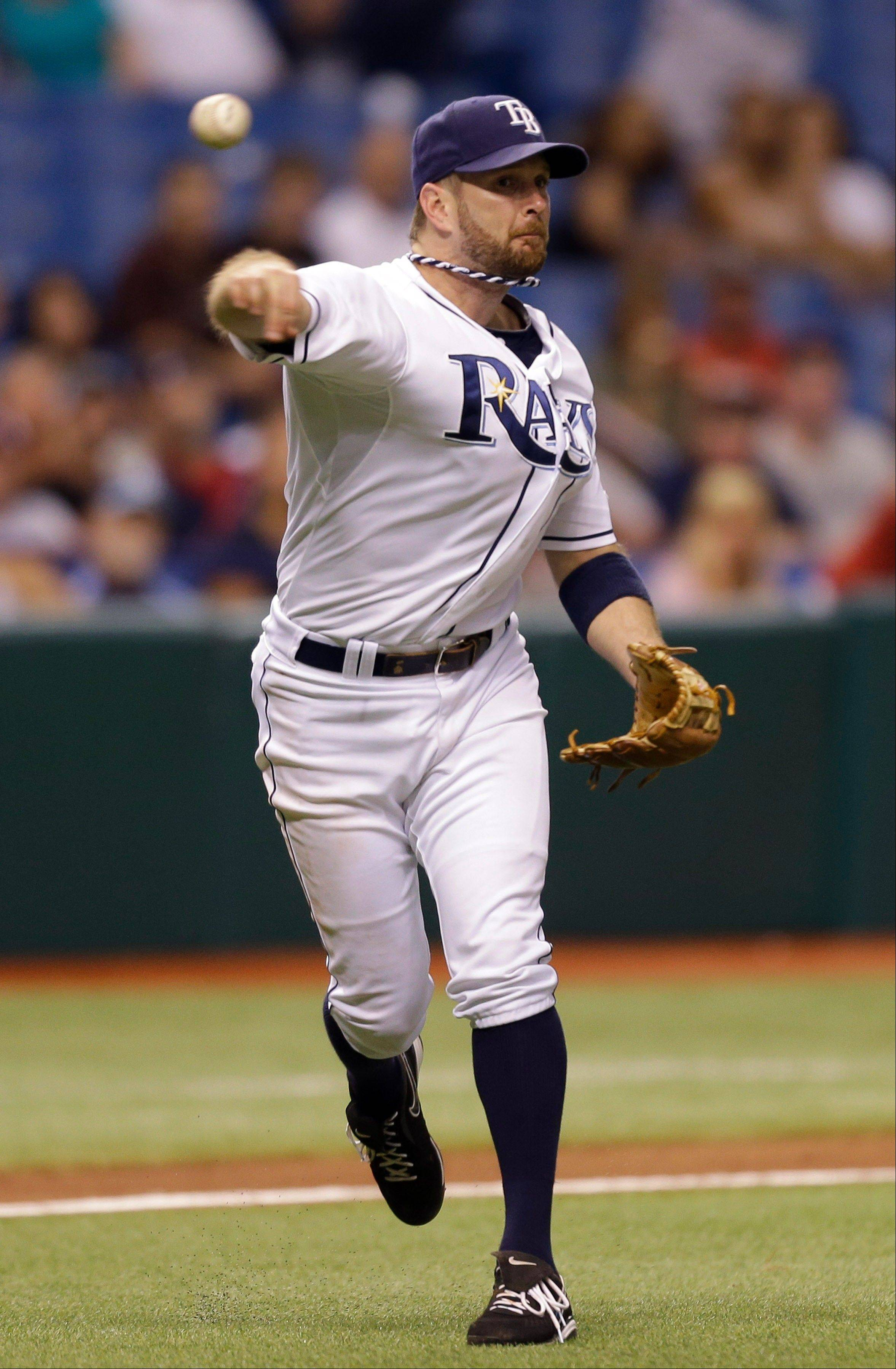 Tampa Bay Rays third baseman Jeff Keppinger throws out Boston Red Sox's Jose Iglesias during the seventh inning of a baseball game Monday, Sept. 17, 2012, in St. Petersburg, Fla.