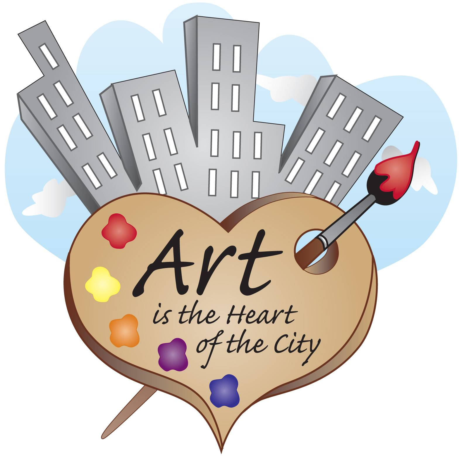 Created by Christine Cintula, art teacher of District 33, this logo for the upcoming show Art is the Heart of the City, captures the connection between students, art and their community.