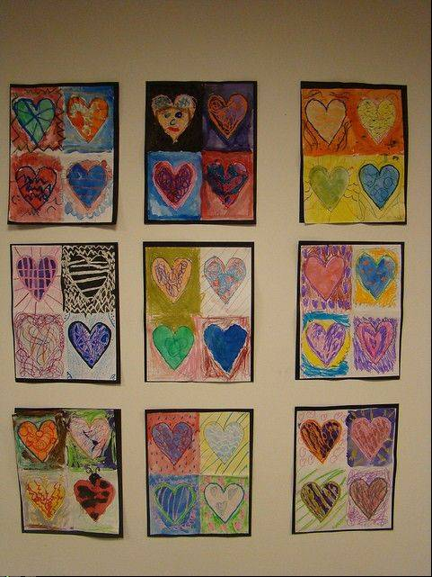 The art work of Gray M. Sanborn second-graders on display at the Palatine Public Library.