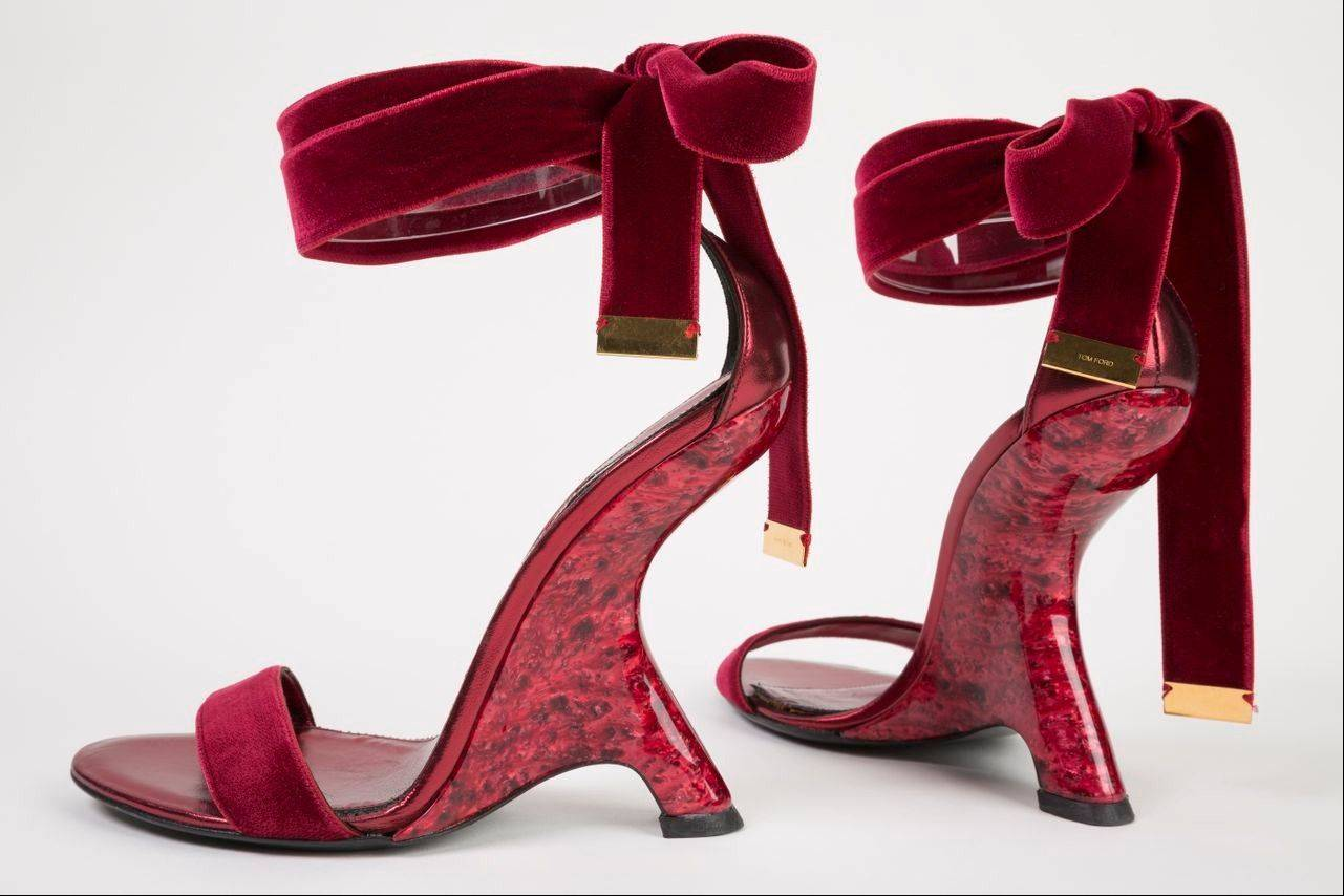 "A pair of shoes designed by Tom Ford in 2012 are displayed at the ""Shoe Obsession"" exhibit at The Museum at the Fashion Institute of Technology Museum."