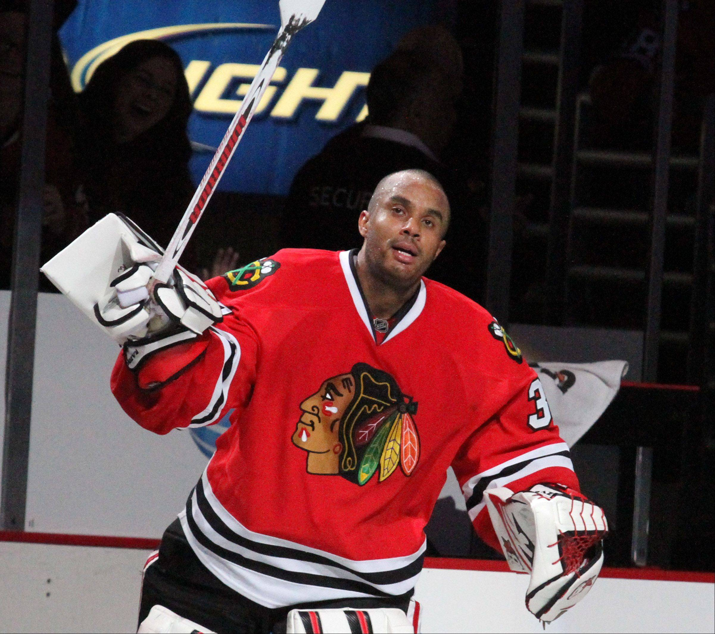 George LeClaire/gleclaire@dailyherald.com Chicago Blackhawks goalie Ray Emery takes the ice after winning over the San Jose Sharks at the United Center on Friday.
