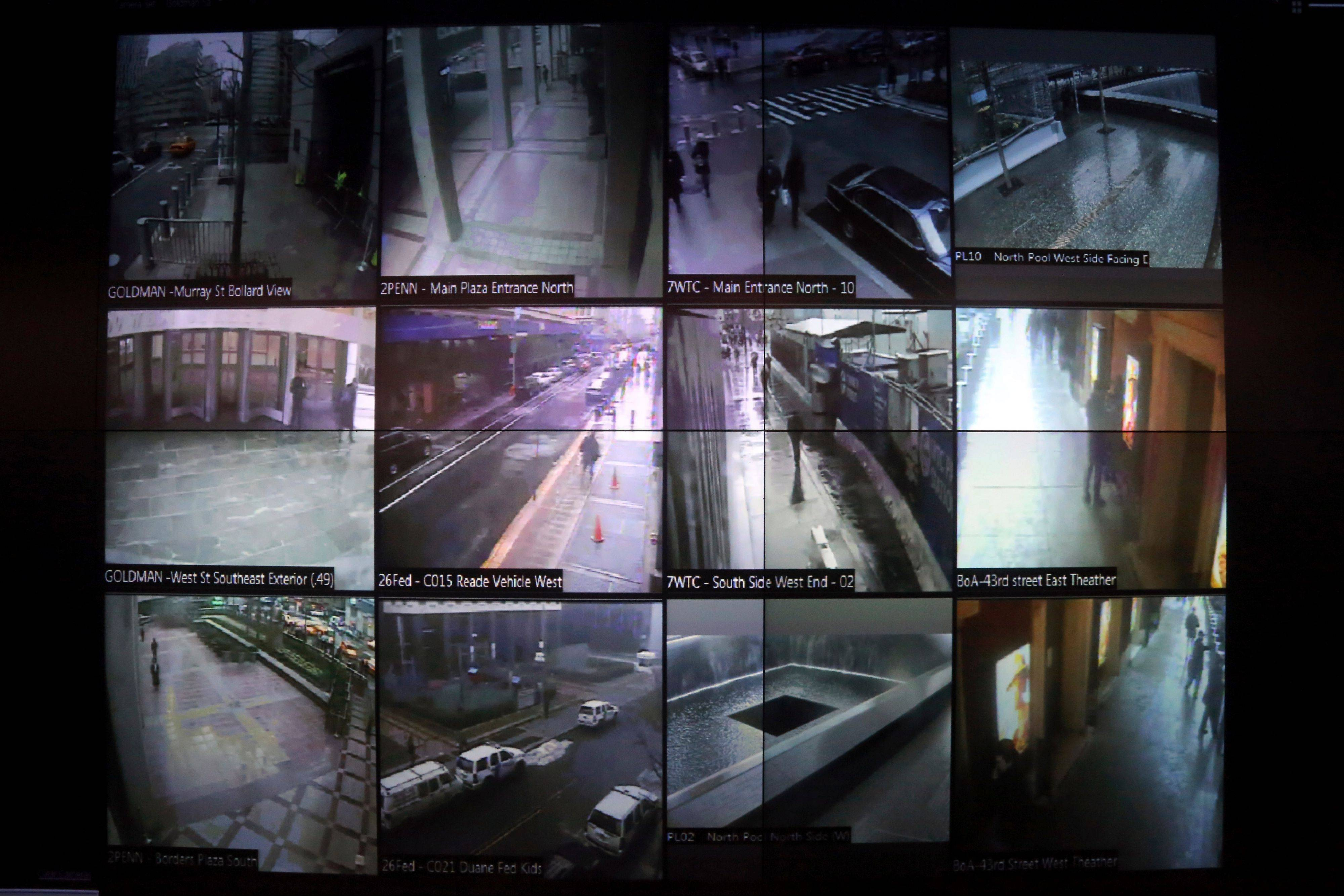 A video wall that shows New York city police officers an interactive map of the area, security footage from nearby cameras, locations where high radiation levels are detected and whether any other threats have been made in New York.