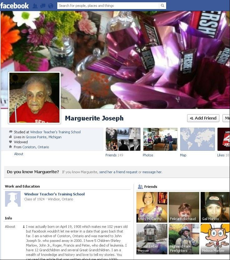 Marguerite Joseph can be forgiven for lying about her age on Facebook. The 104-year-old Michigan woman's granddaughter says Joseph is unable to list her real age on the social media site.