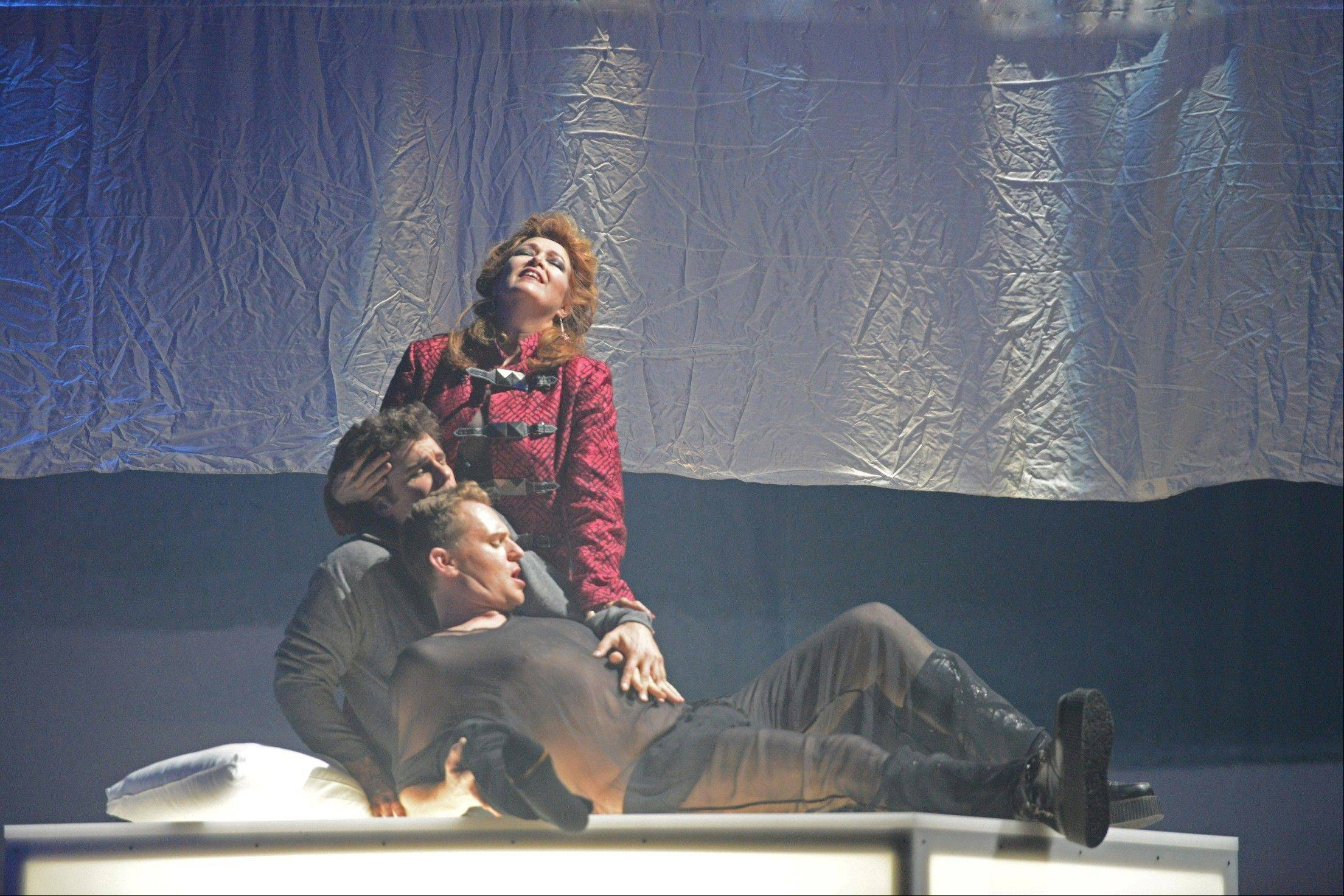 "Lee Gregory, Ryan MacPherson and Suzan Hanson star in Chicago Opera Theater's production of the opera ""The Fall of the House of Usher"" at Millennium Park's Harris Theater for Music and Dance in Chicago."