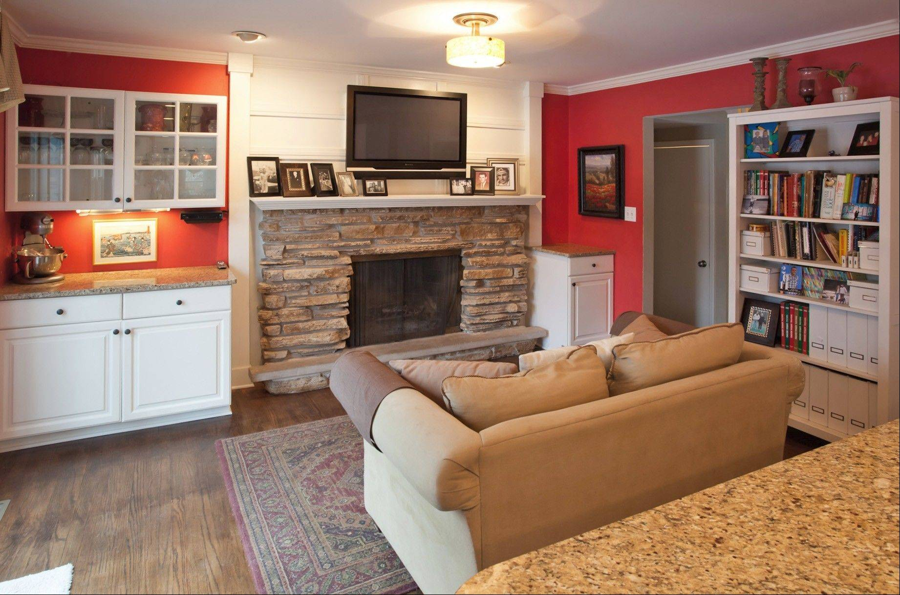 The family room fireplace is one of two on the first floor.