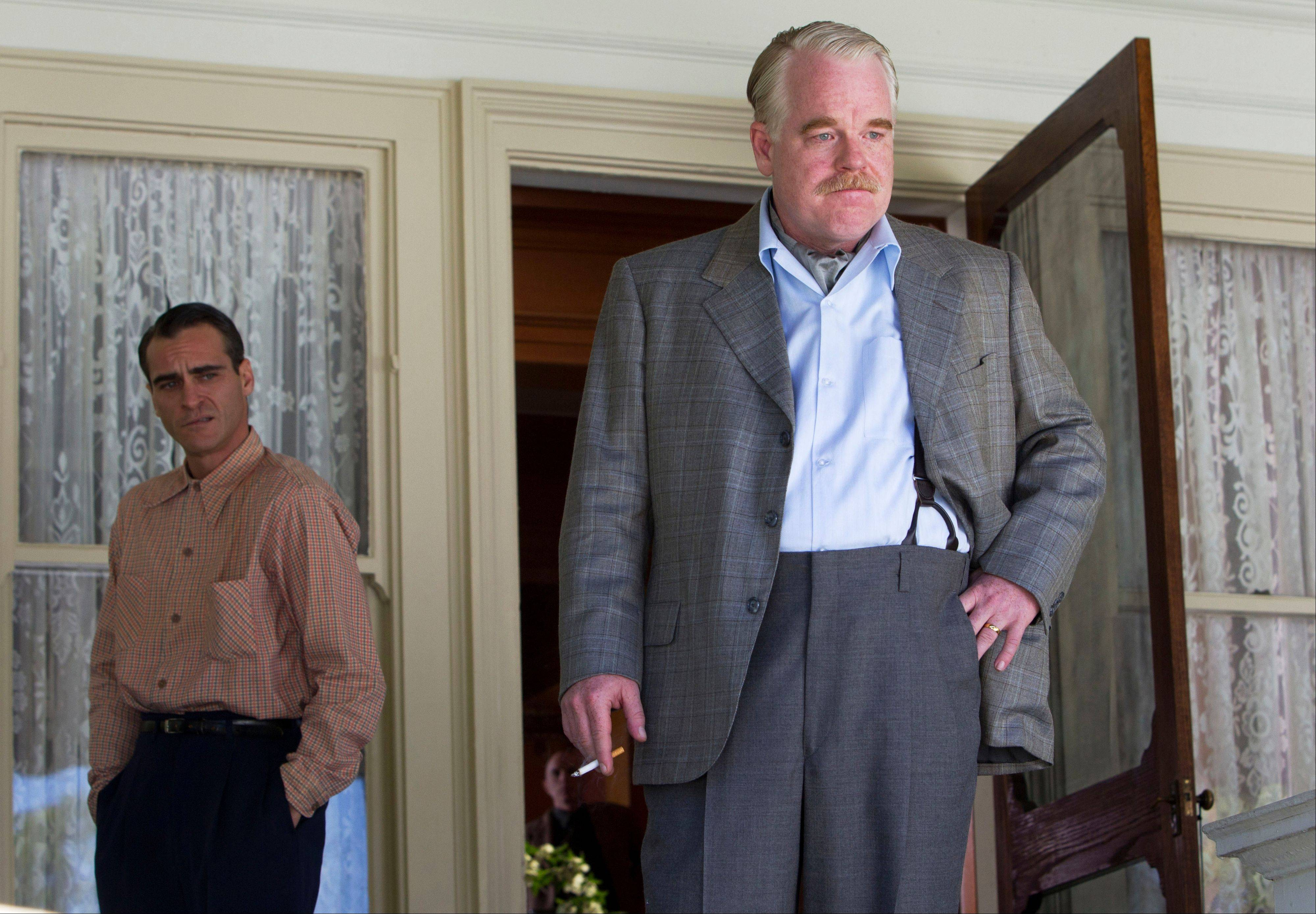 "Joaquin Phoenix, left, and Philip Seymour Hoffman star in ""The Master."""