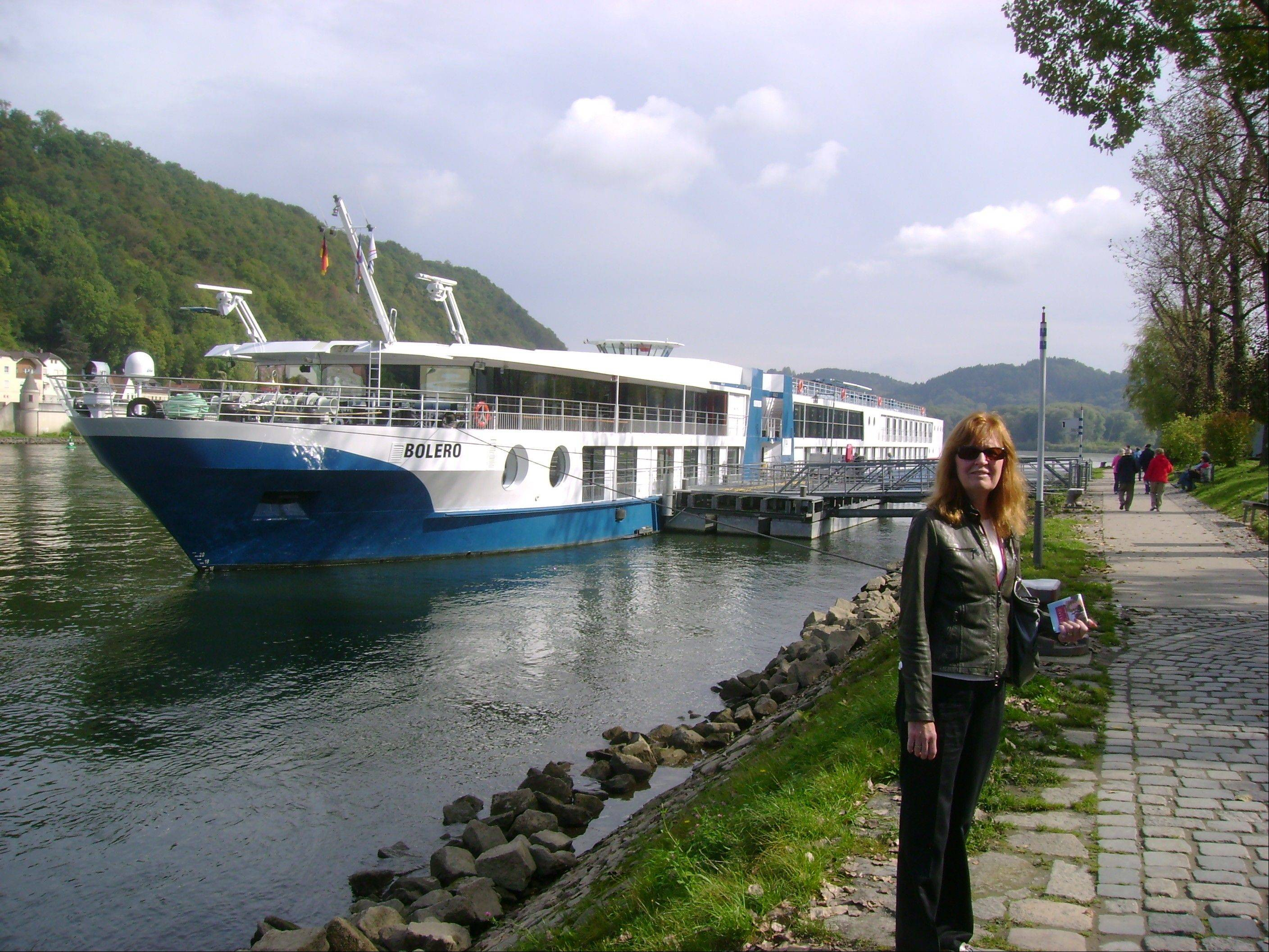 Betty Adams in Passau, Germany, with the MS Bolero, a Viking River Cruises ship. Adams took a cruise on the Danube River with her husband Glenn Adams. The Adamses were glad to have travel insurance to cover costs when their travel plans got scrambled.