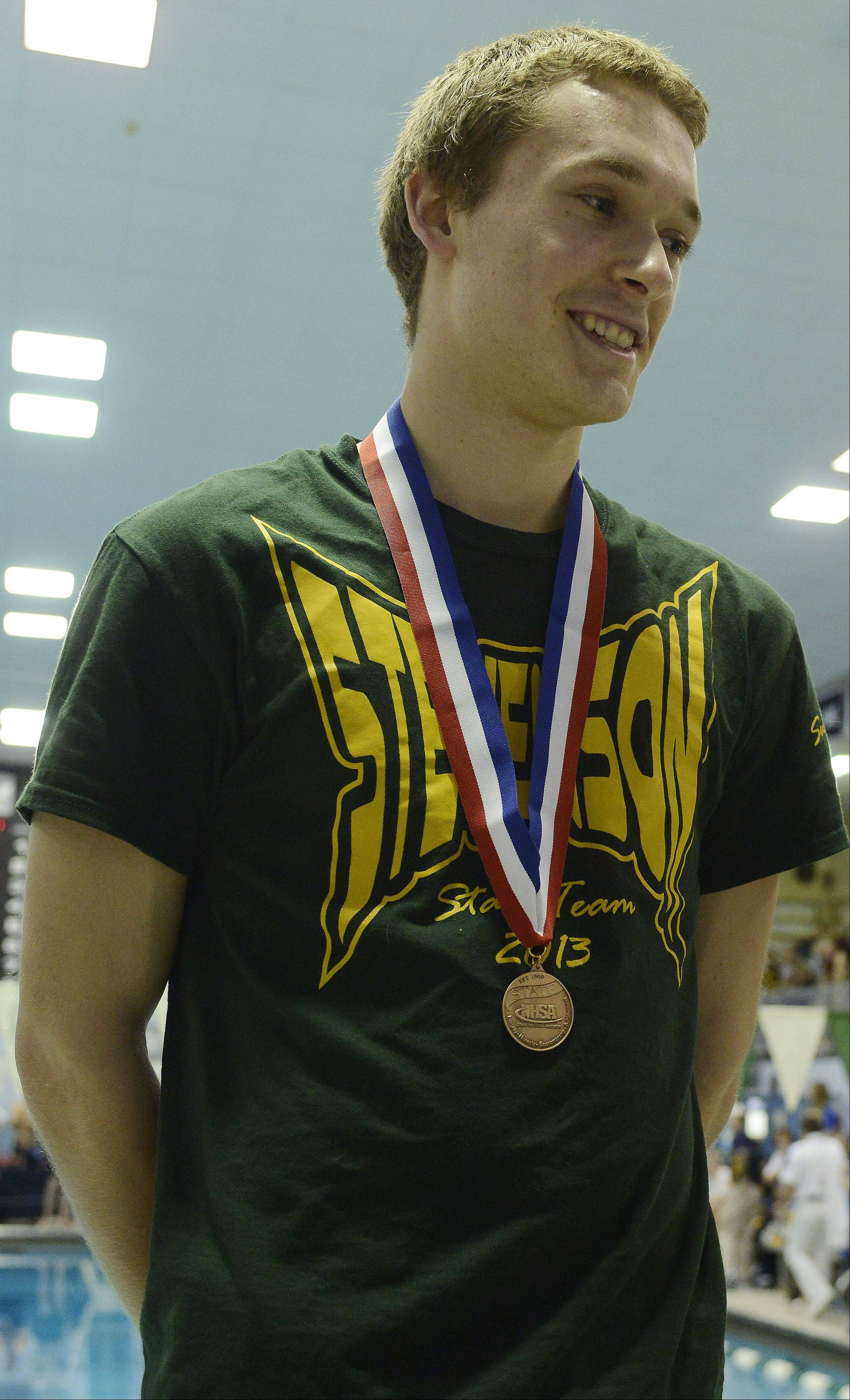 Stevenson's James Lichtenstein finished third in diving in the state finals at New Trier High School in Winnetka on Saturday.