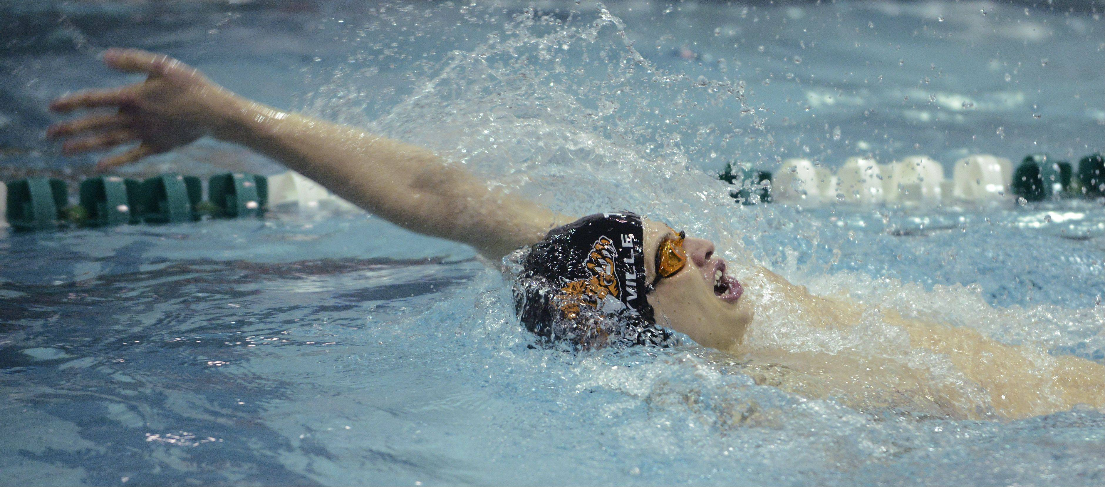 Libertyville's Alex Snarski swims toward a second-place finish in the 100-yard backstroke during the boys state swimming finals at New Trier High School in Winnetka Saturday.