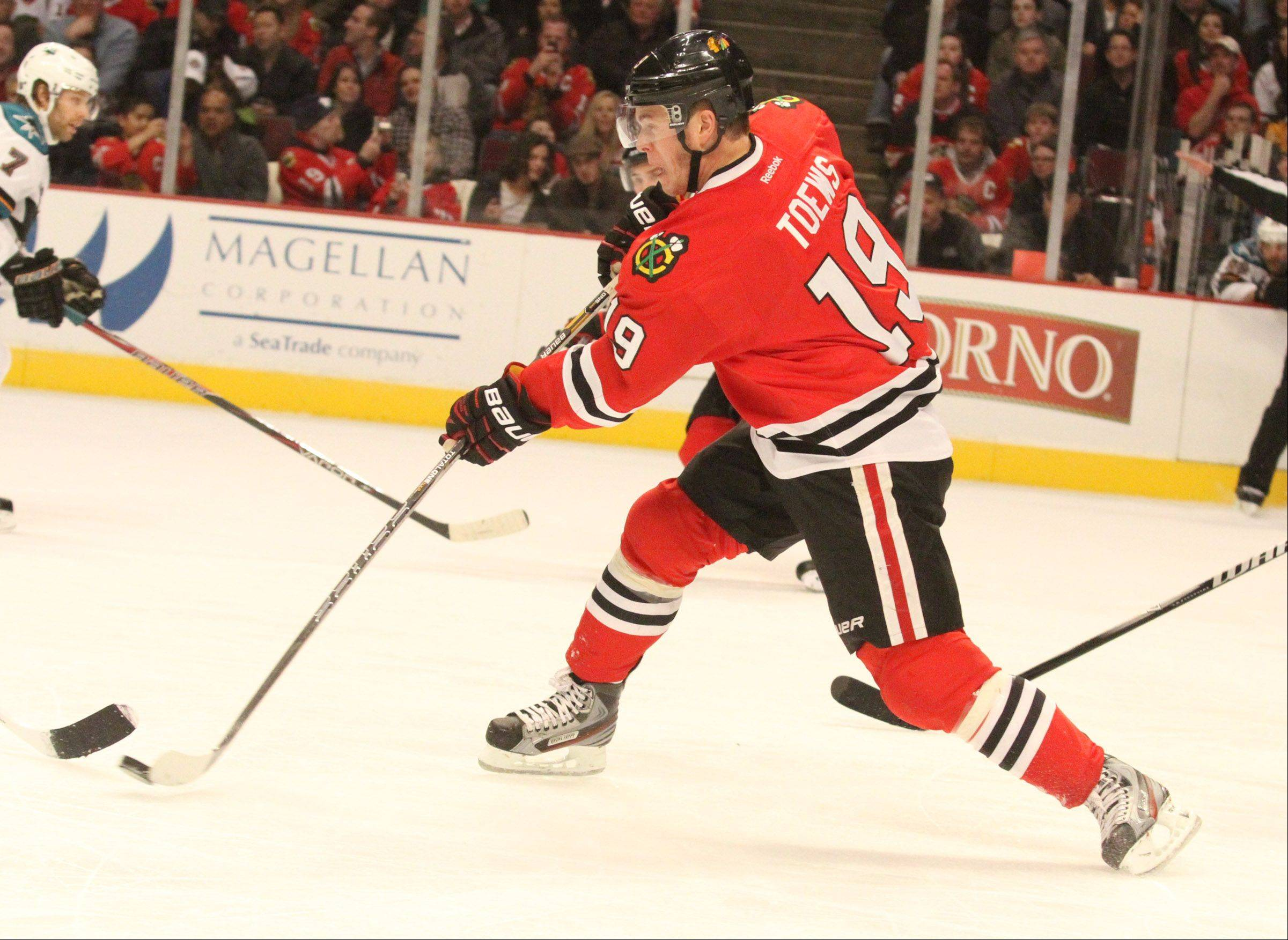 Chicago Blackhawks center Jonathan Toews shoots.