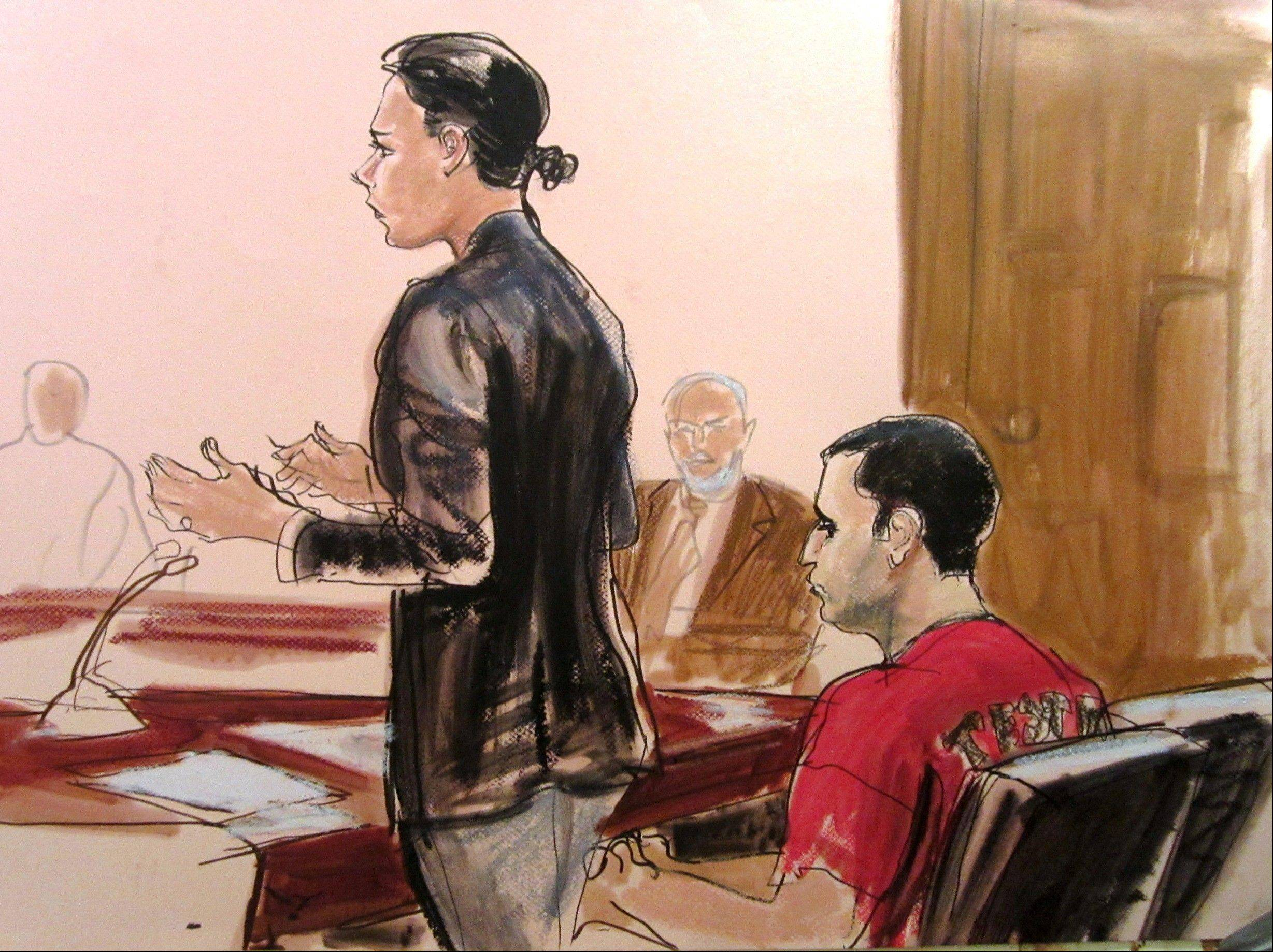 Federal Defender Julie Gatto requests bail for her client, New York City Police Officer Gilberto Valle, right, in this Oct. 25, 2012, file courtroom drawing.