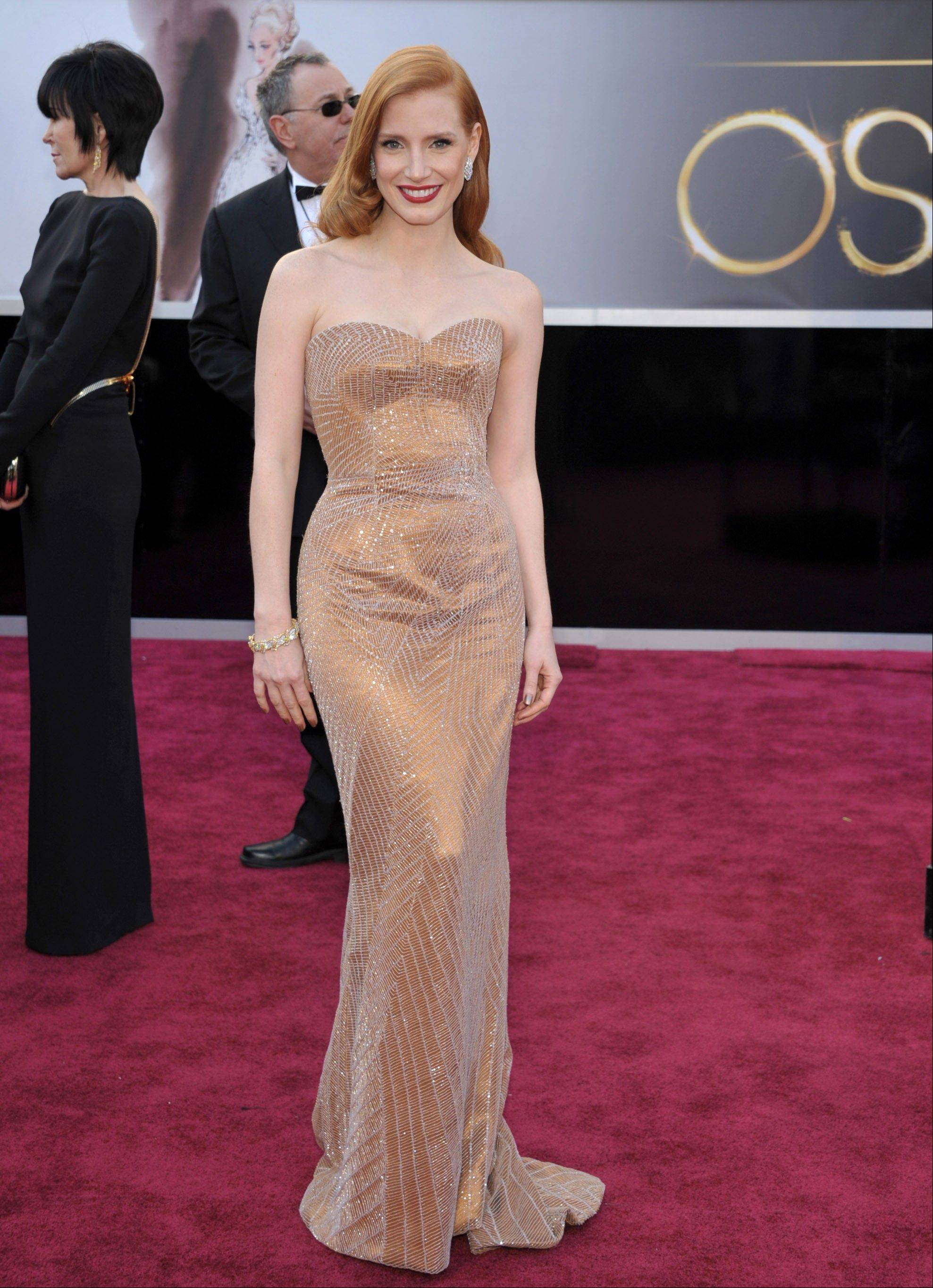 Jessica Chastain arrives at the 85th Academy Awards at the Dolby Theatre on Sunday in Los Angeles.
