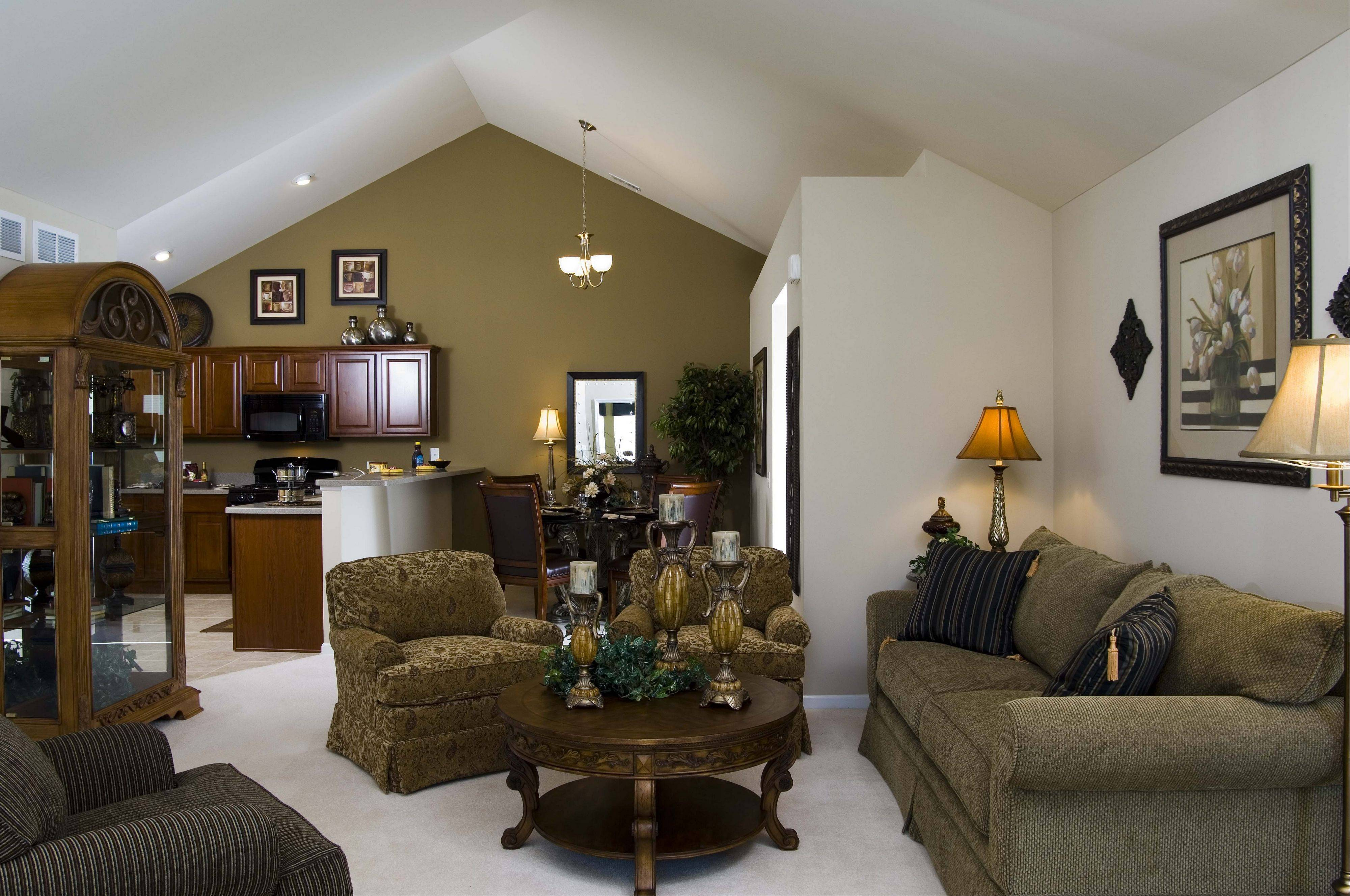 Ranch homes with an abundance of high ceilings, like this model at Fox Run in Plainfield, are popular with buyers today.