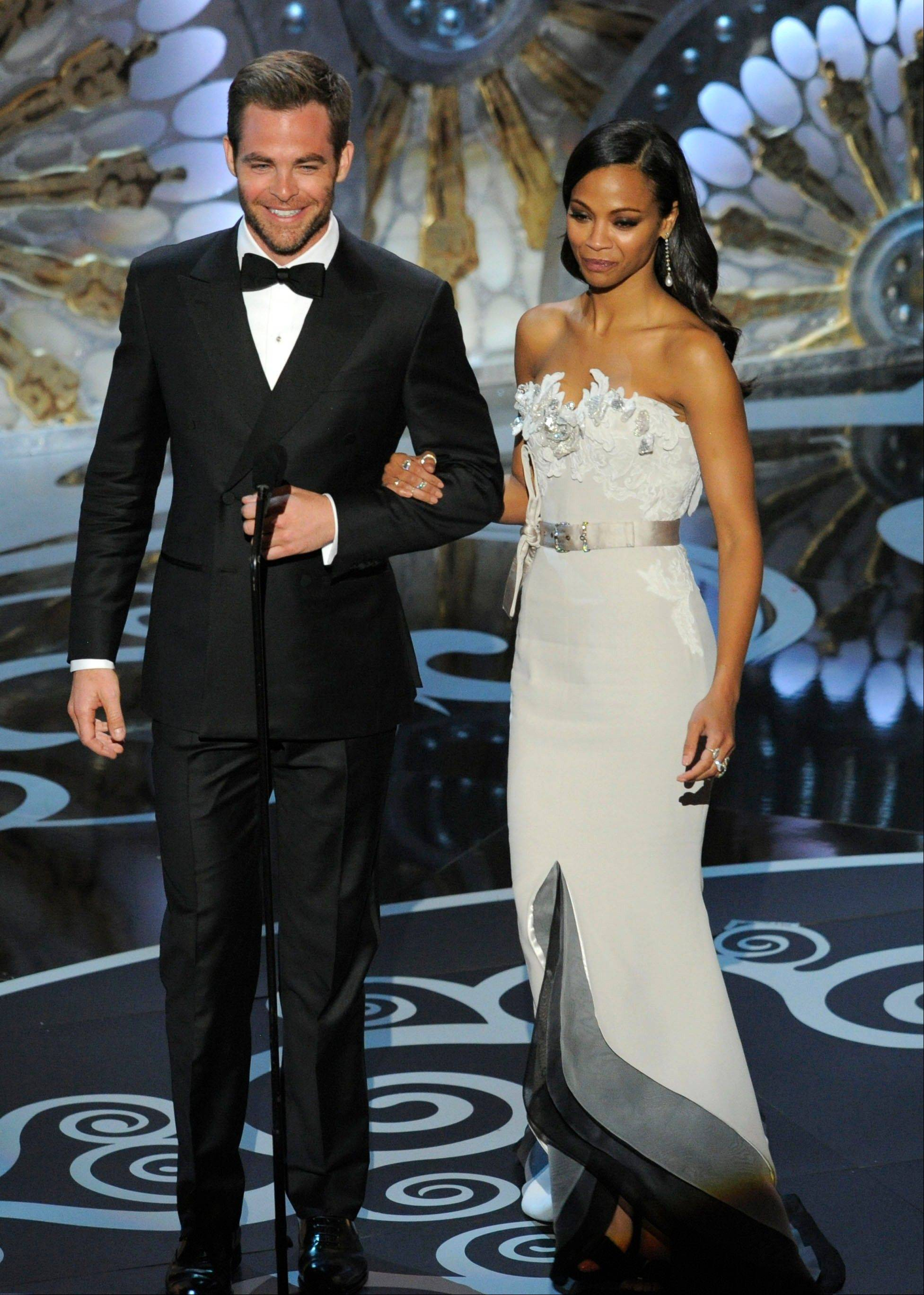 """Star Trek into Darkness"" co-stars Chris Pine and Zoe Saldana present an award Sunday at the Oscars."