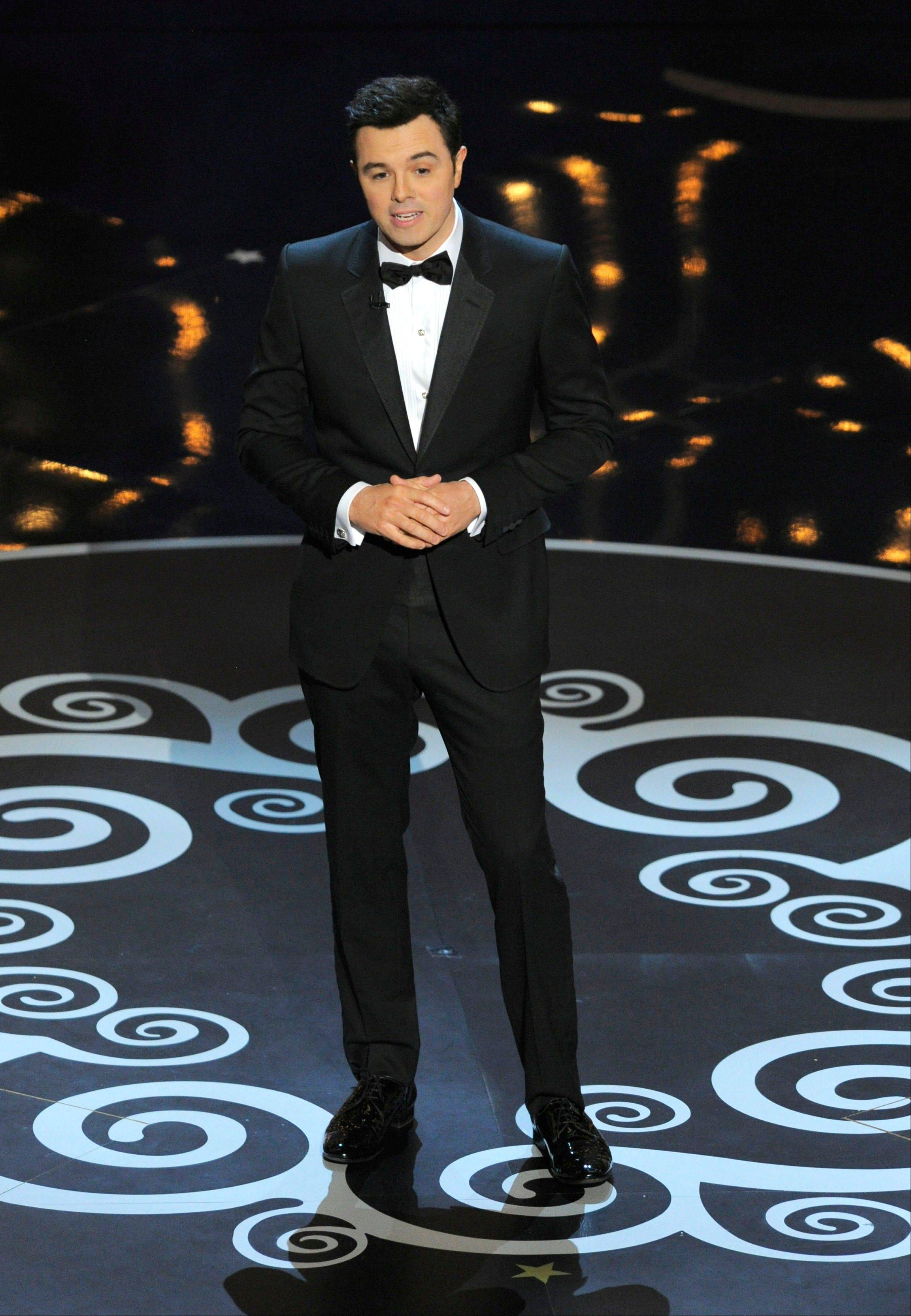 Host Seth MacFarlane delivers his opening monologue Sunday at the Oscars.
