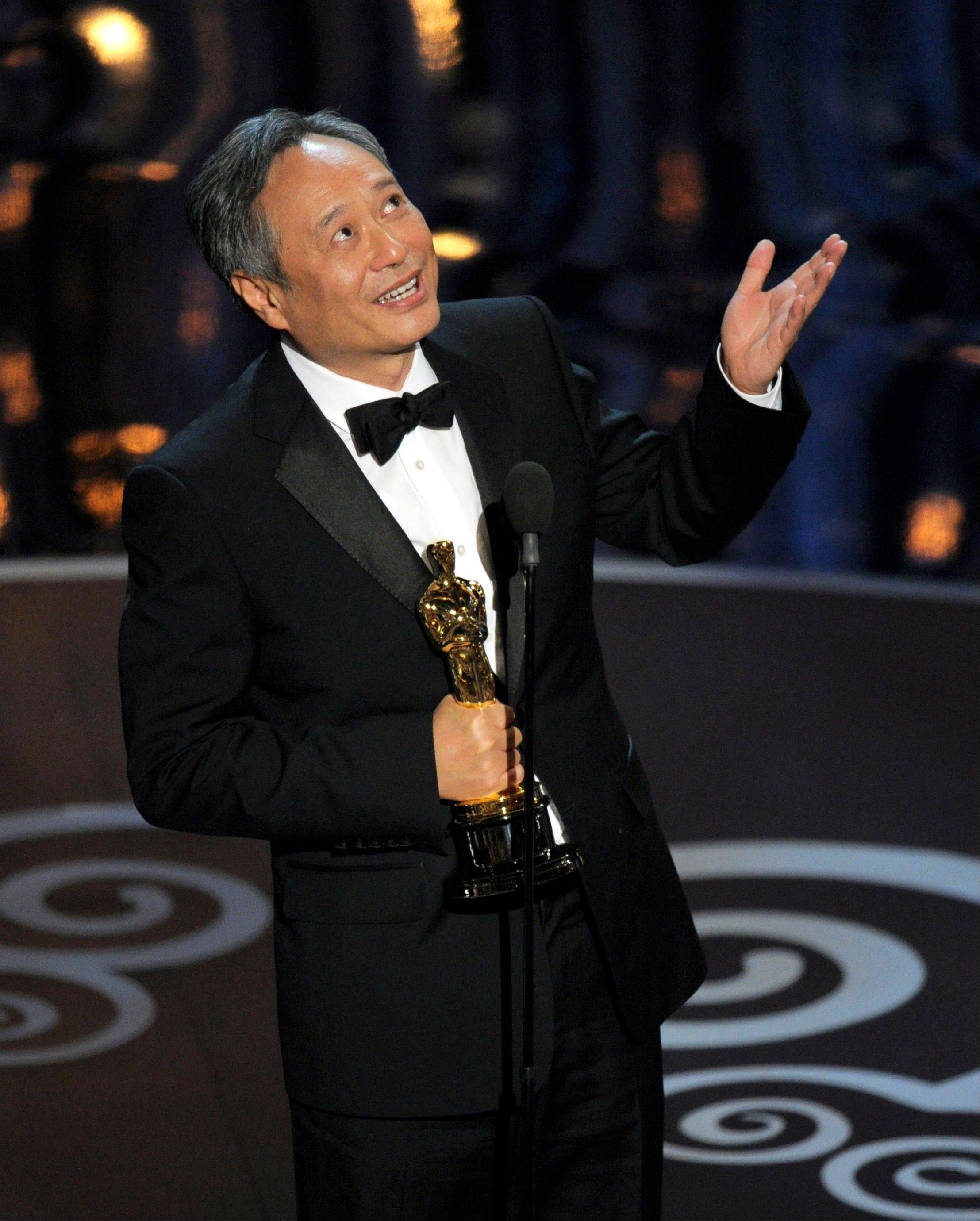 "Ang Lee thanks ""the Movie God"" after winning best director for ""Life of Pi"" at Sunday's Oscars."