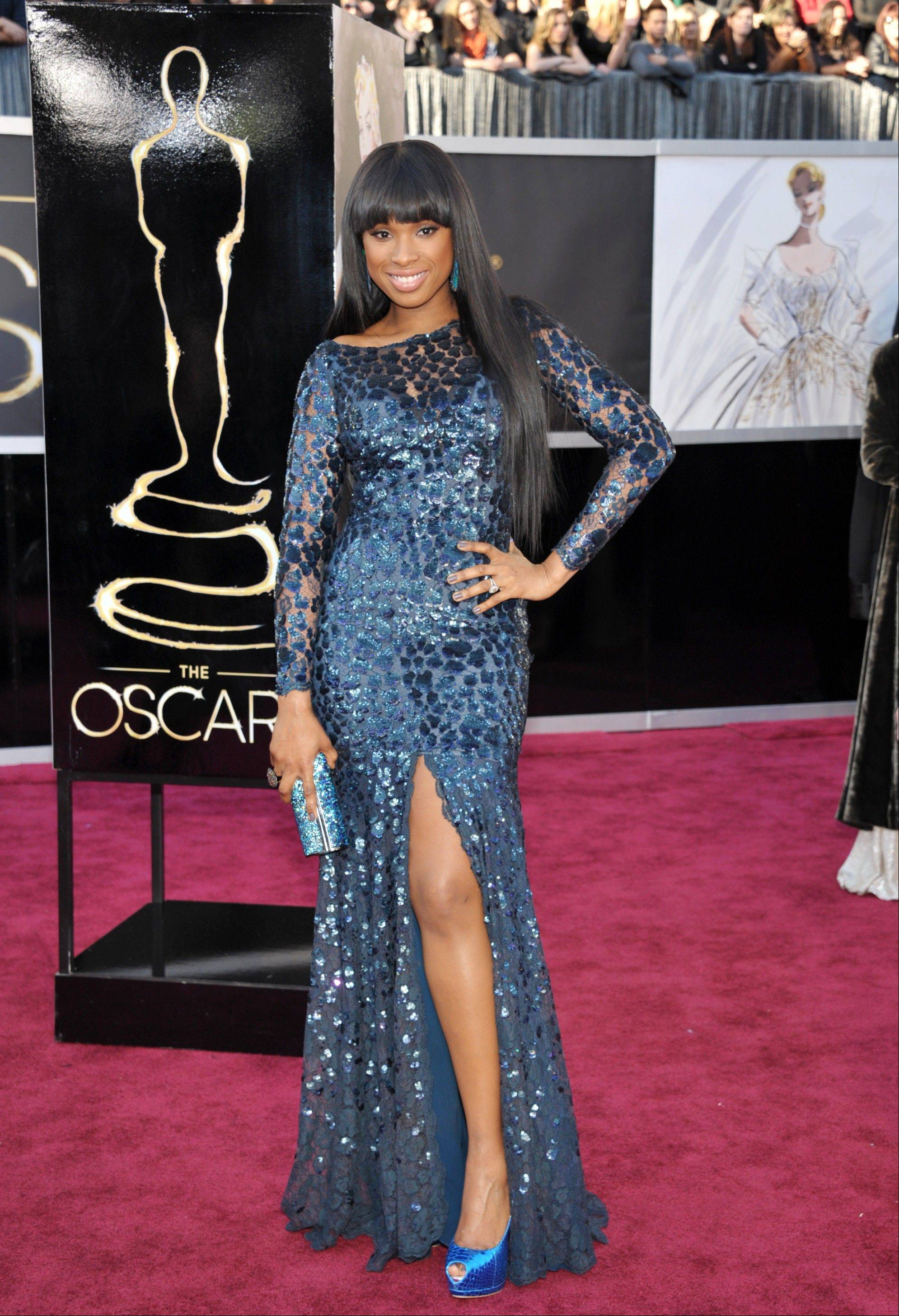 Actress/singer and Oscar winner Jennifer Hudson opts for blue. Hudson was slated to perform during the telecast.