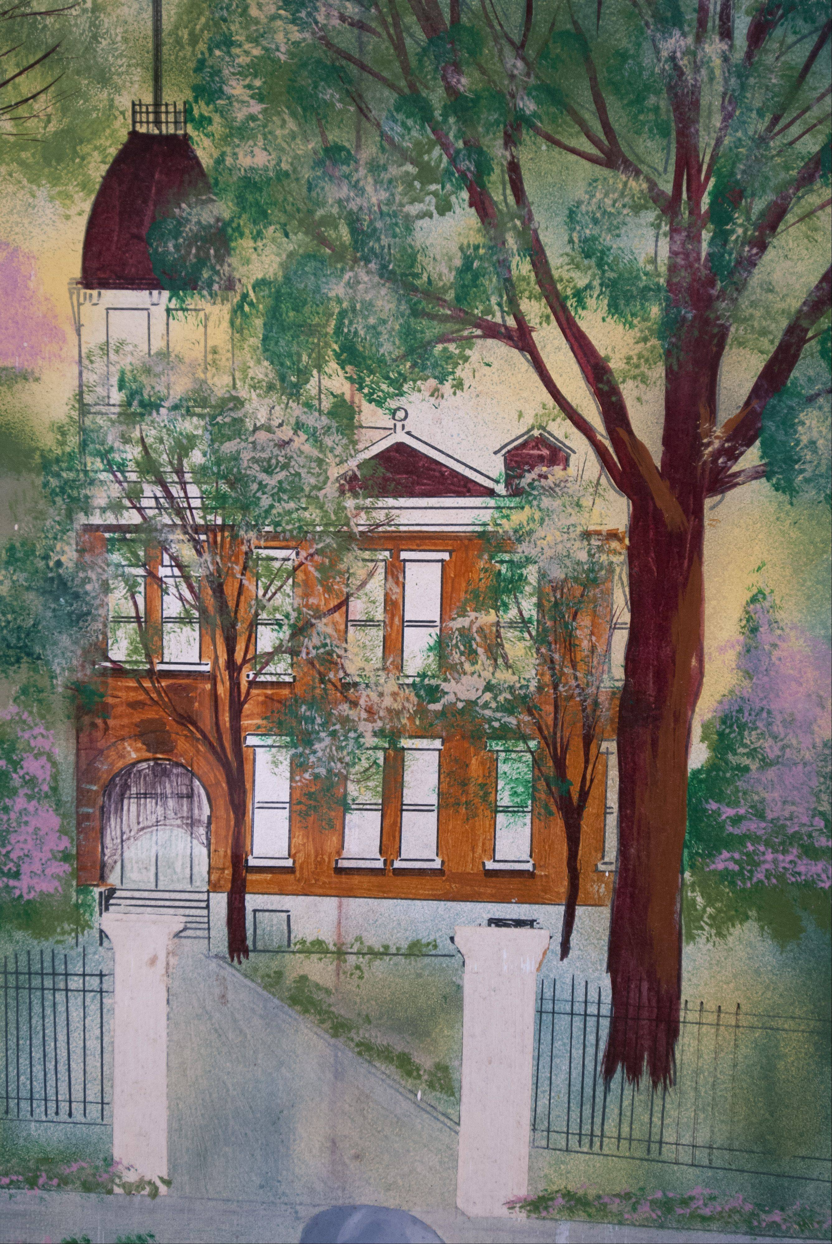The former Lincoln school is depicted on an incomplete painting Lombard Trustee Laura Fitzpatrick is working to finish. The painting hung above the front desk at village hall and was taken down while the desk is undergoing renovations.