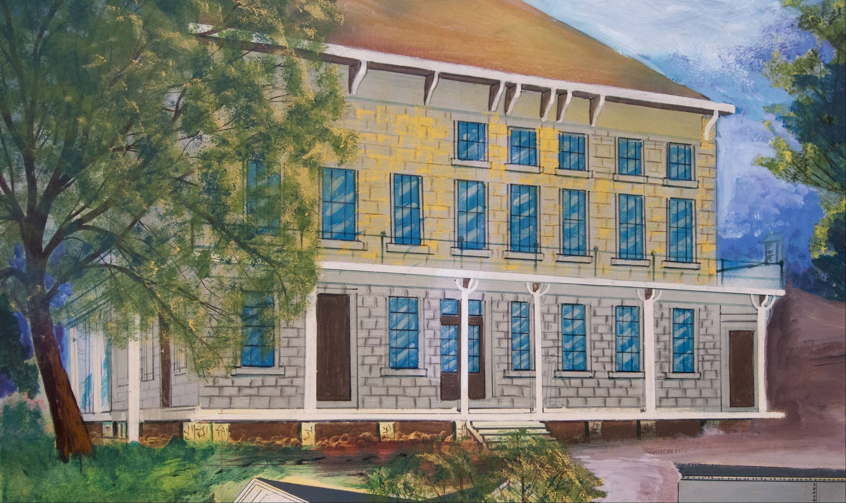 The Lombard Hotel is one of several historic buildings in the Lilac Village shown on an incomplete painting Trustee Laura Fitzpatrick is working to complete.