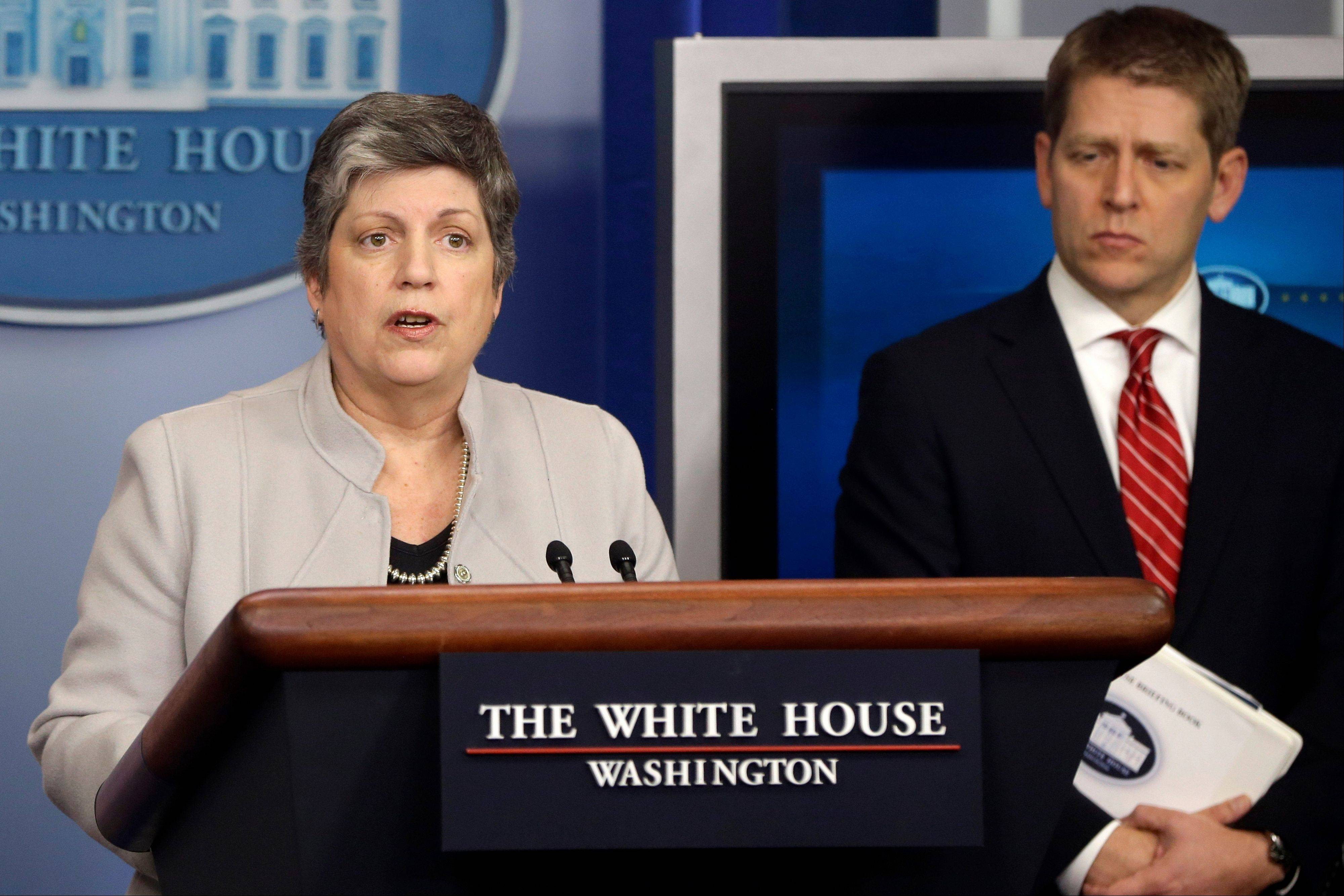 Homeland Security Secretary Janet Napolitano, accompanied by White House press secretary Jay Carney, briefs reporters on the sequester Monday at the White House in Washington.