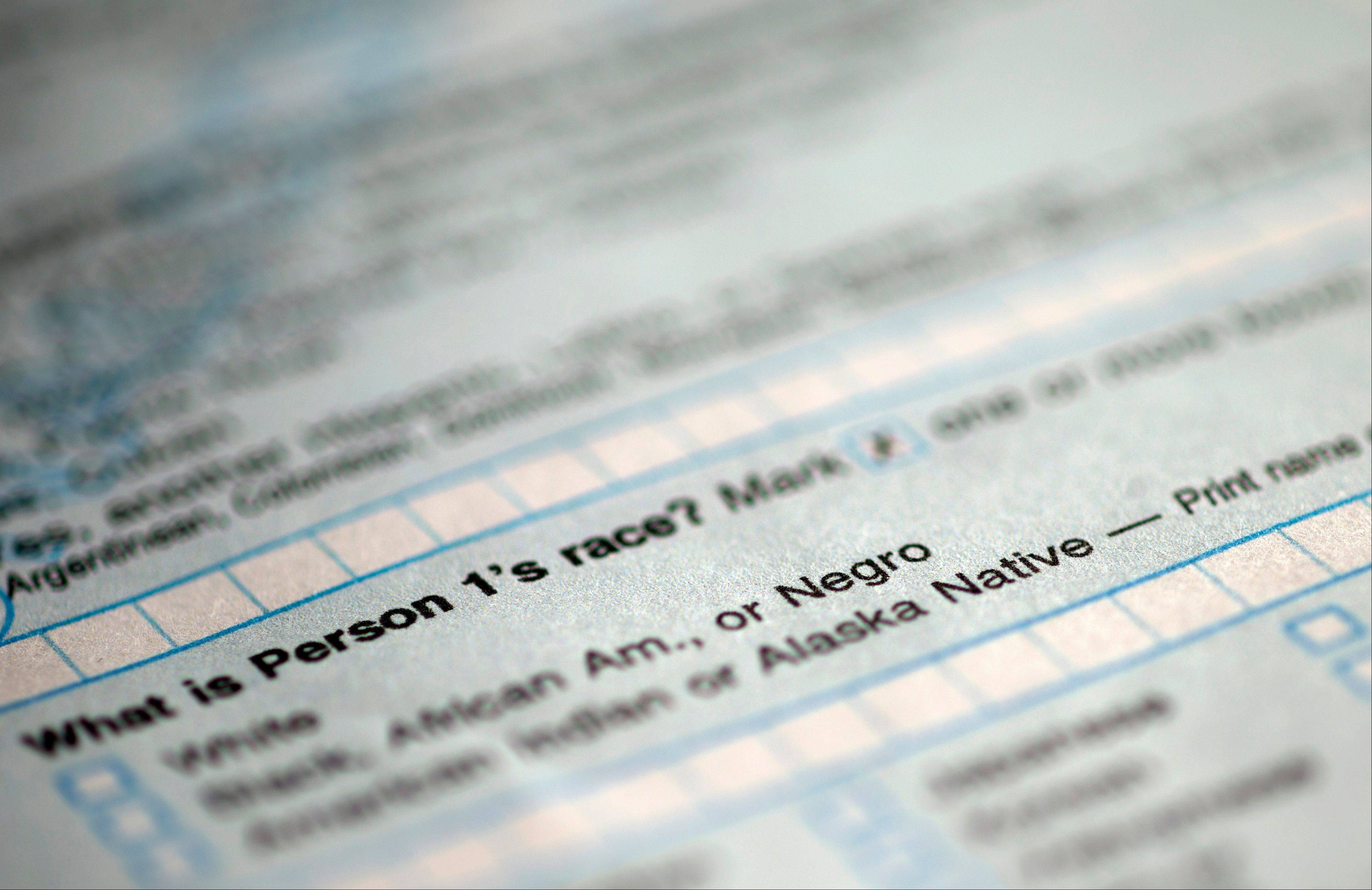 This handout image obtained by The Associated Press shows question 9: �What is Person 1�s race�, on the first page of the 2010 Census form, with options for White: Black, African Am., or Negro.