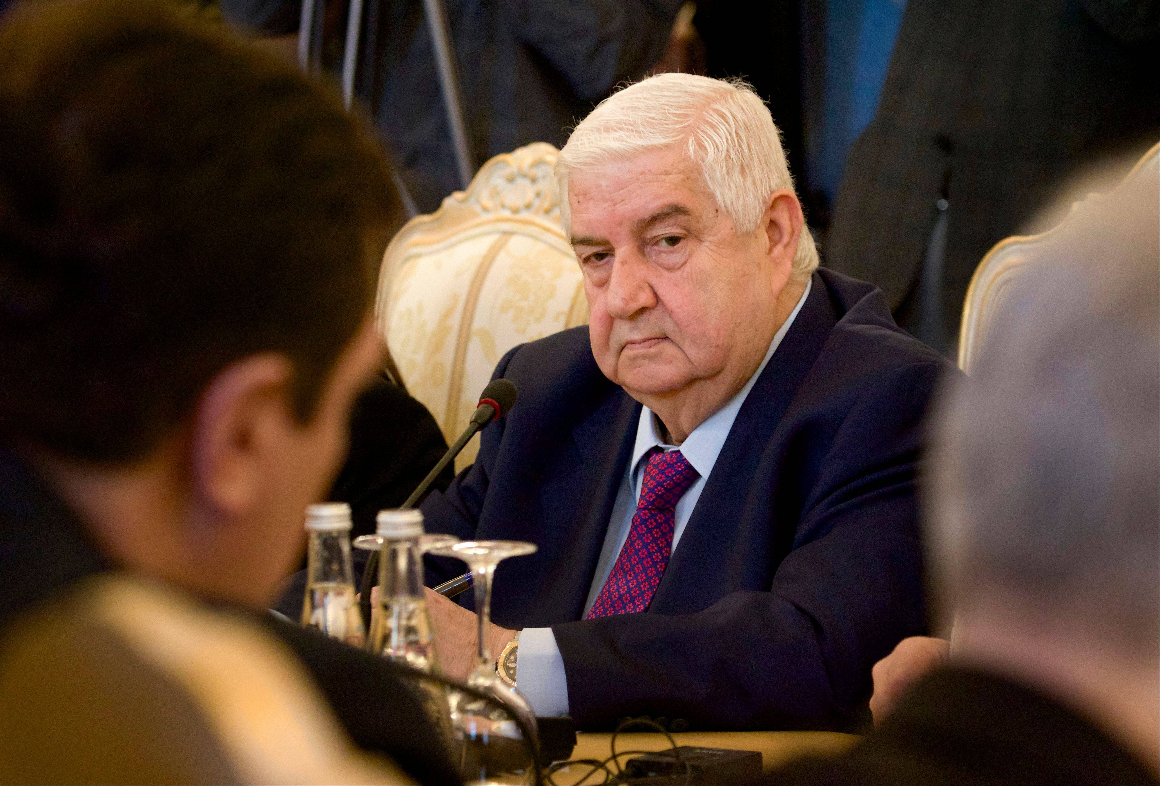 Syrian Foreign Minister Walid al-Moallem attends a meeting with his Russian counterpart Sergey Lavrov in Moscow on Monday.