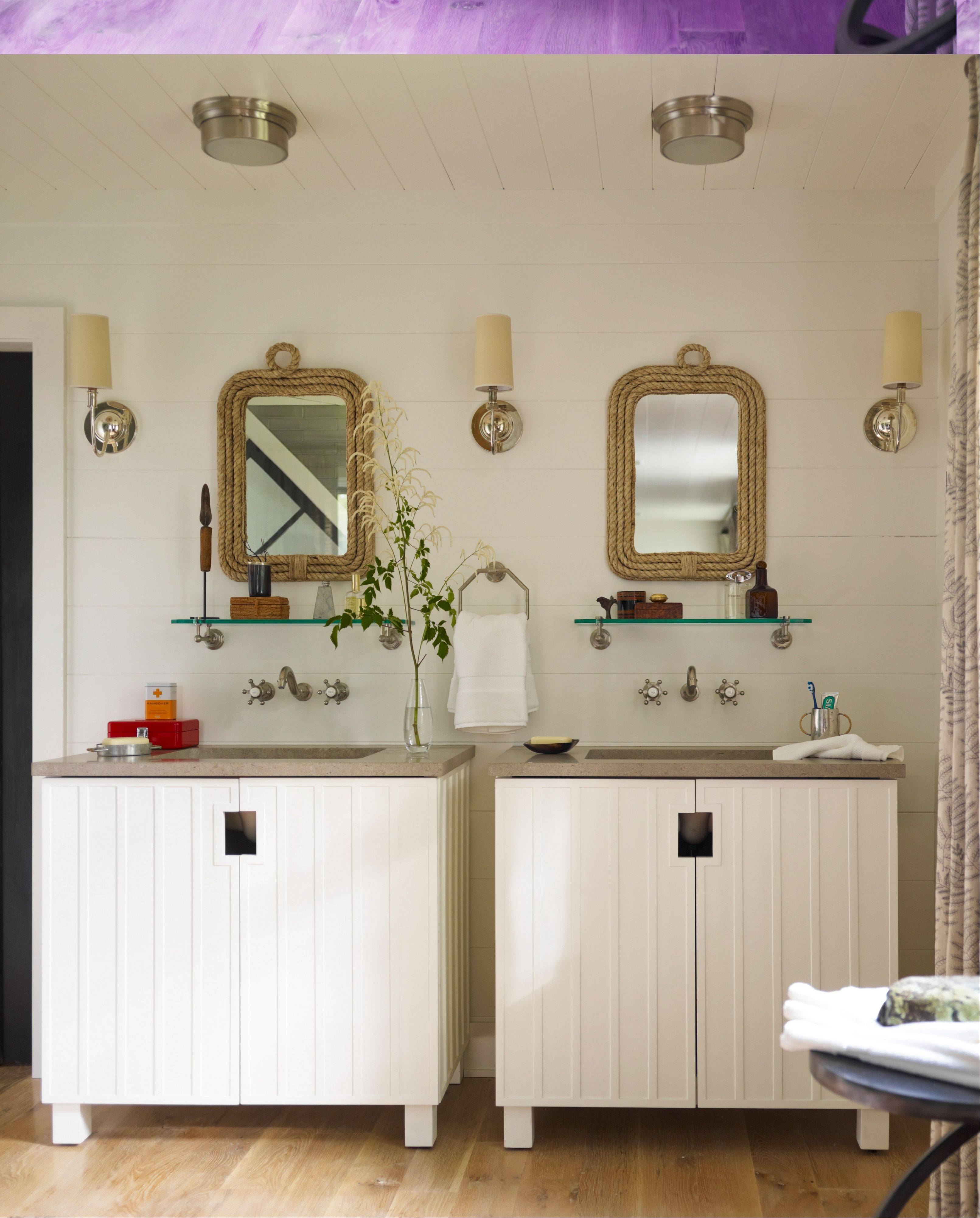 Thom Filicia used Kohler products in his lake home, including Chalkstrip Vanities and antique wallmount faucets.