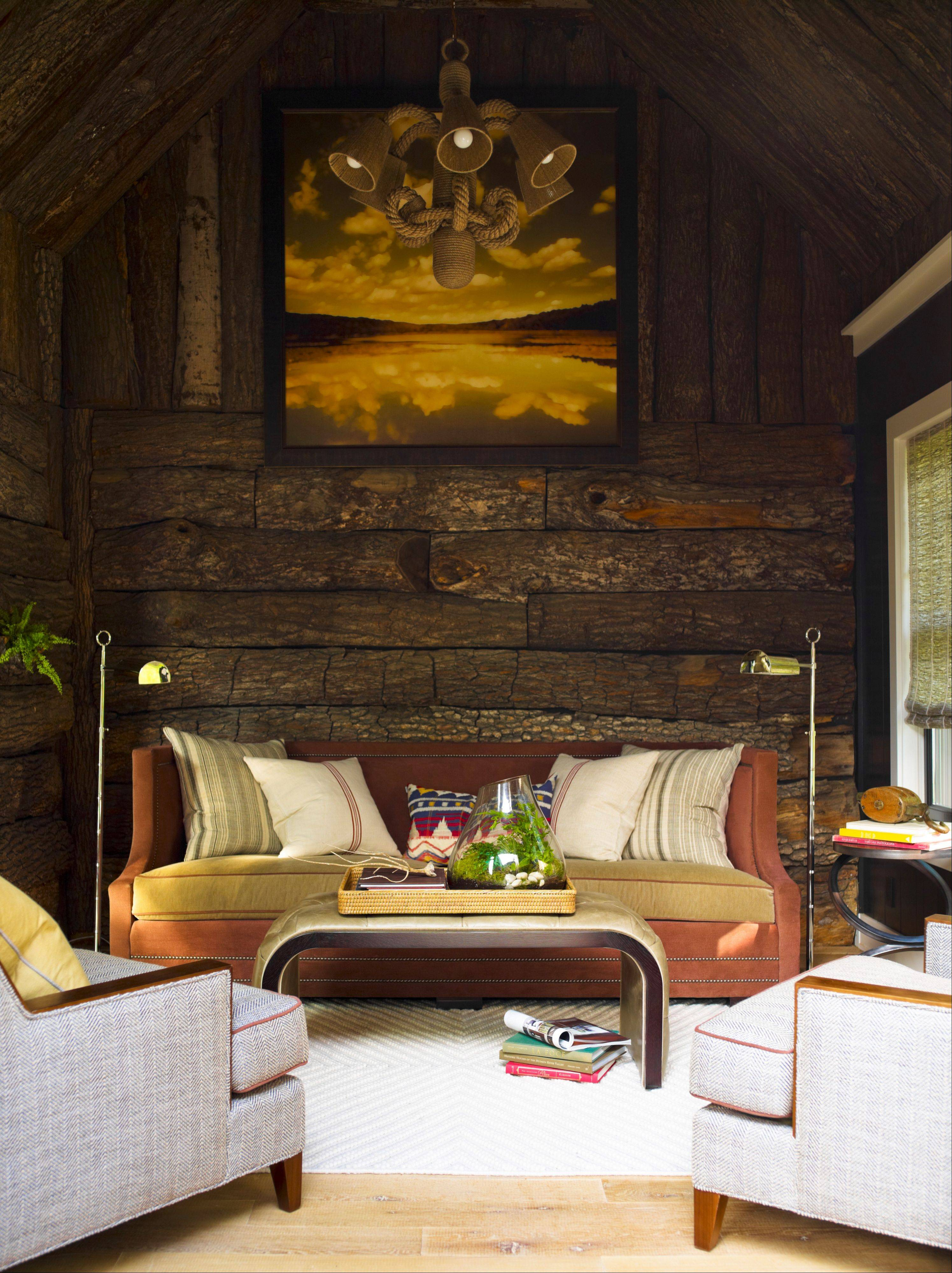 Thom Filicia muted colors in his sunroom so he could mix an earthy red, pale green and quiet mustard.