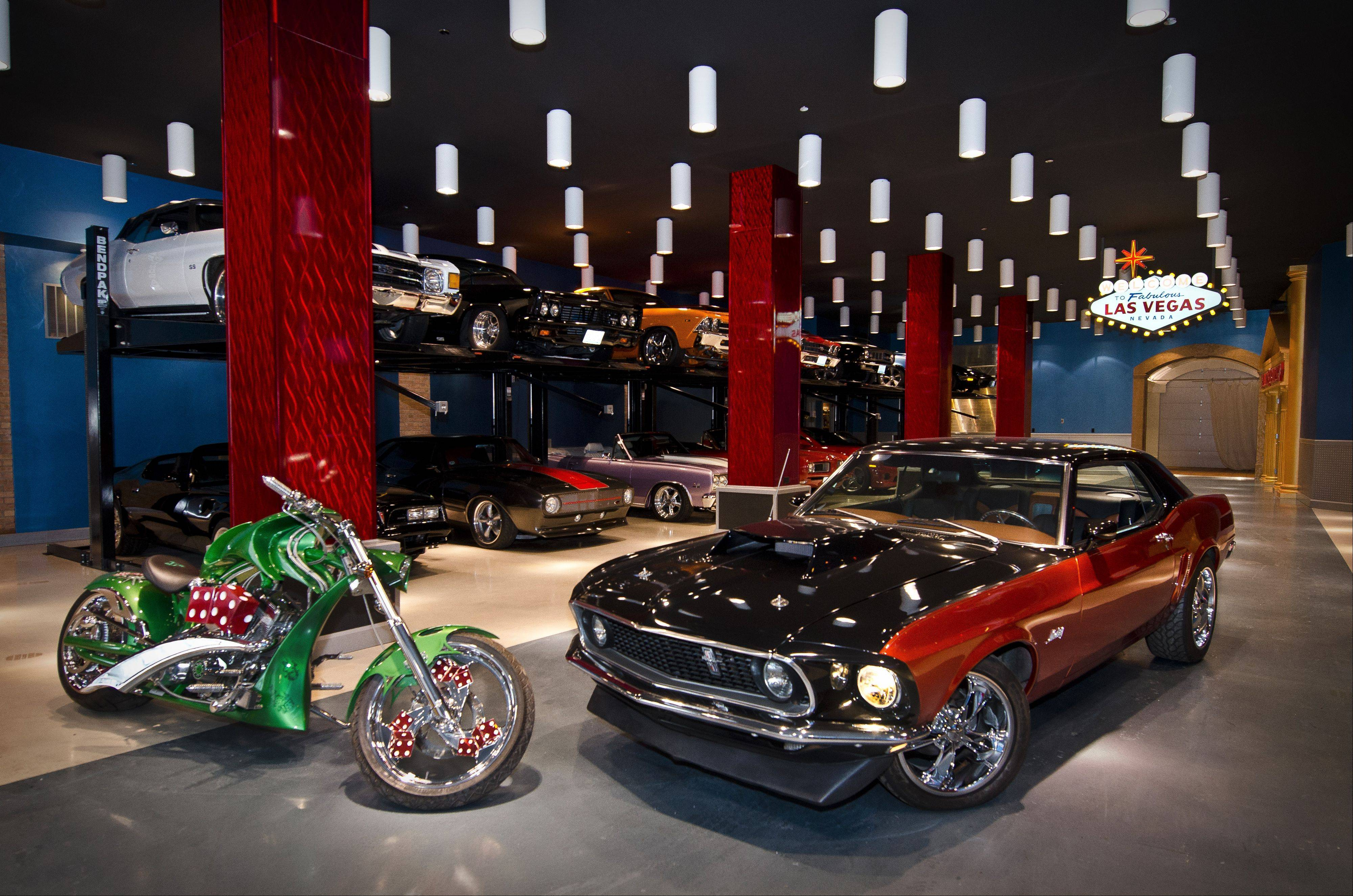Francis Wisniewski of Chicago converted a warehouse into a Las Vegas-themed playhouse to hold his muscle car collection.