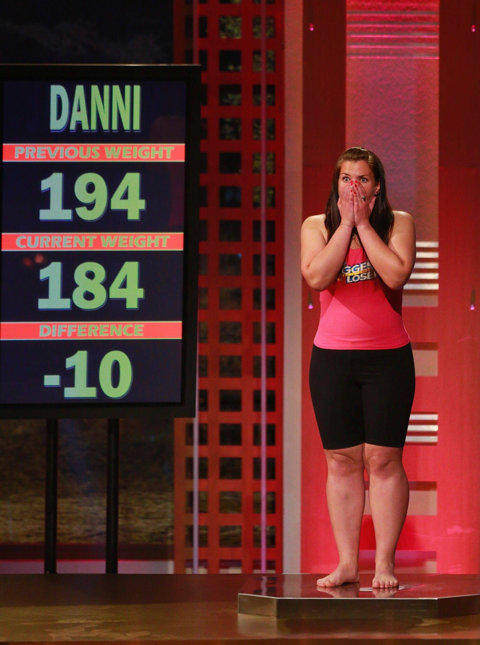 "Danni Allen, of Wheeling, learns during the weigh in that she lost 10 pounds and would be staying another week on ""The Biggest Loser."""