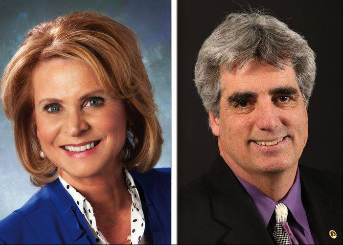 Incumbent Kristina Kovarik, left, and Trustee Kirk Morris, right, are running to be Gurnee mayor in the April 9 election.