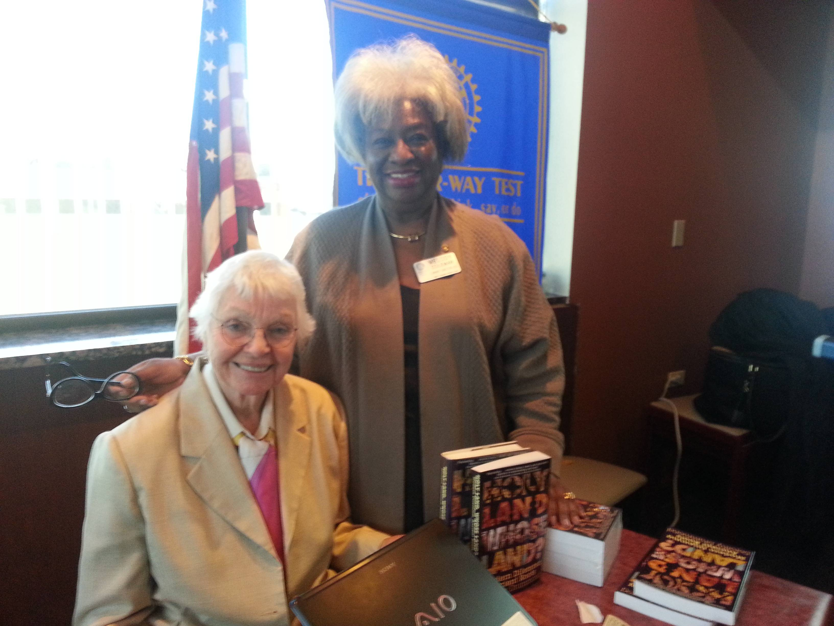 Author Dorothy Drummond (left) with Melody E. Coleman, president of the West Chicago Rotary.