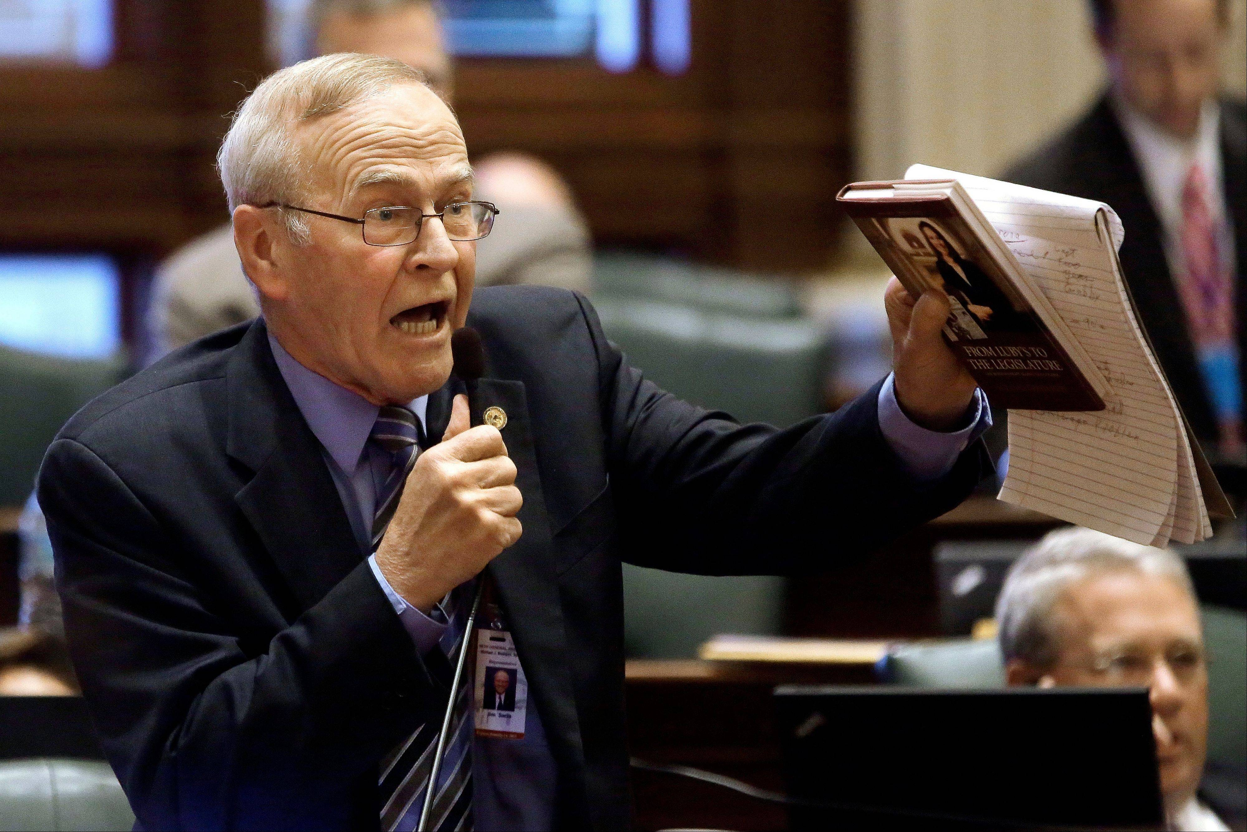 State Rep. Jim Sacia, a Pecatonica Republican, argues concealed carry legislation while on the House floor Tuesday in Springfield. He likened statewide gun limits to forced castration.
