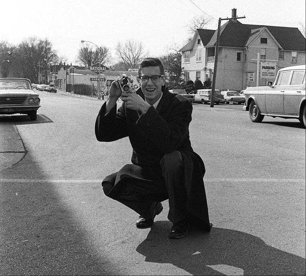 Tom Grieger, former Daily Herald director of photography, in downtown Arlington Heights in March 1964.