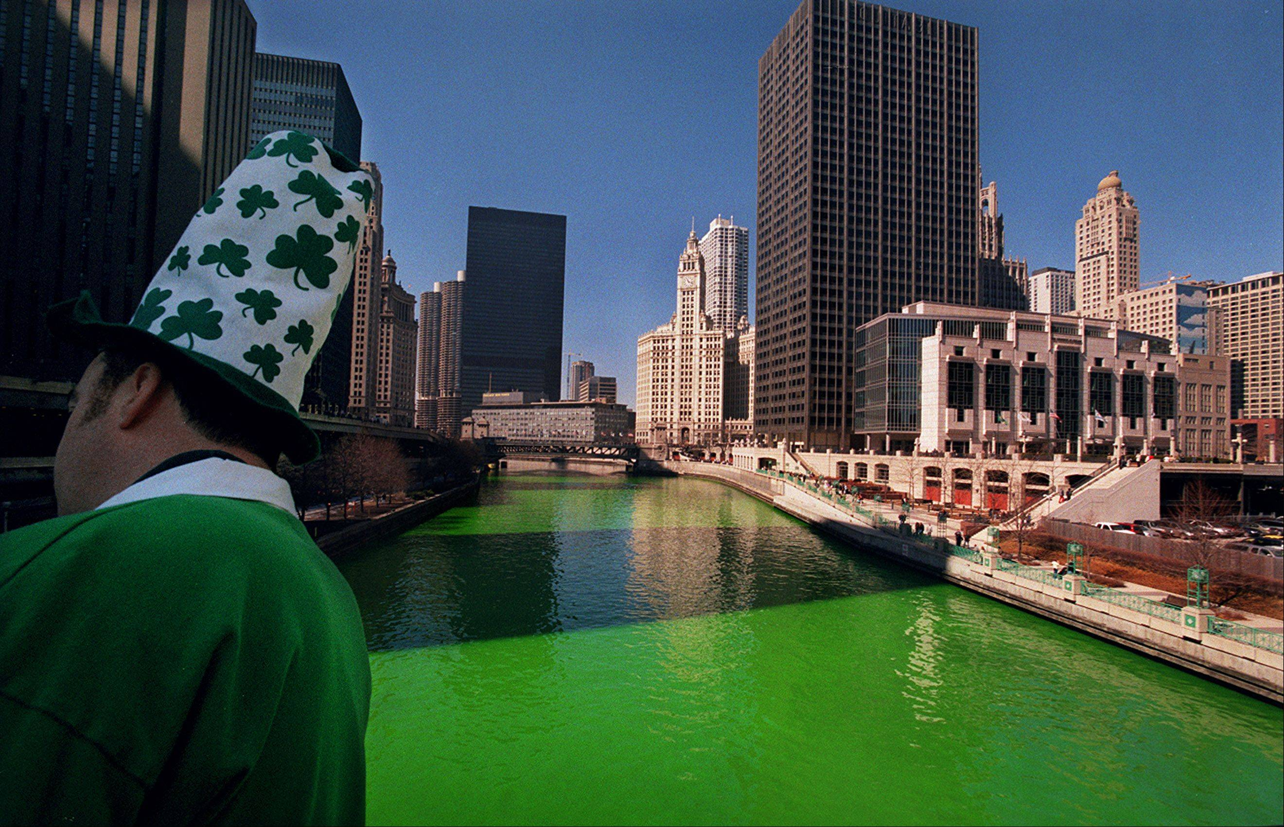 The Chicago River runs green for the annual St. Patrick's Day Parade in Chicago.