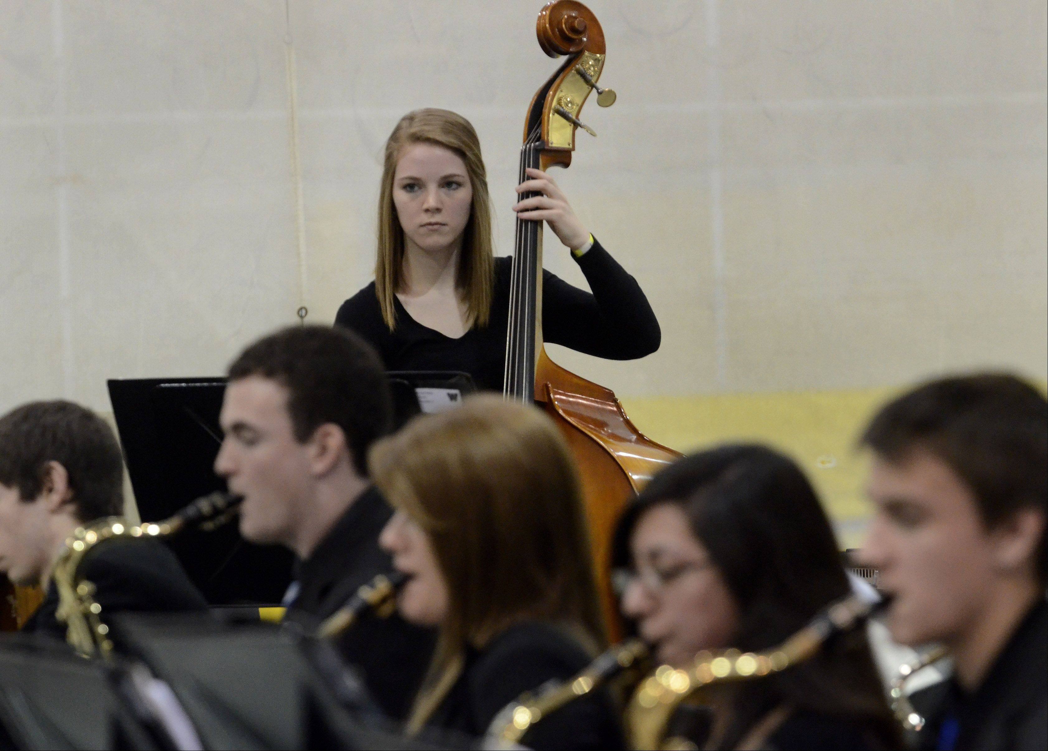 Rene Zerfas on bass for the West Aurora High School Jazz Ensemble.
