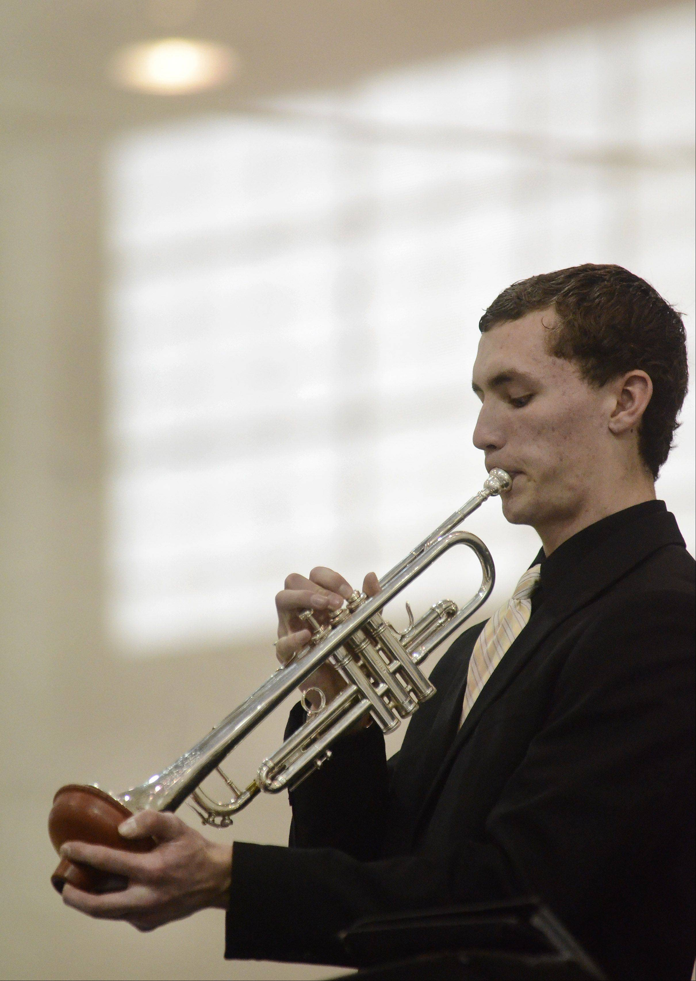 Trumpeter Graham Isaacson plays with the West Aurora High School Jazz Ensemble.