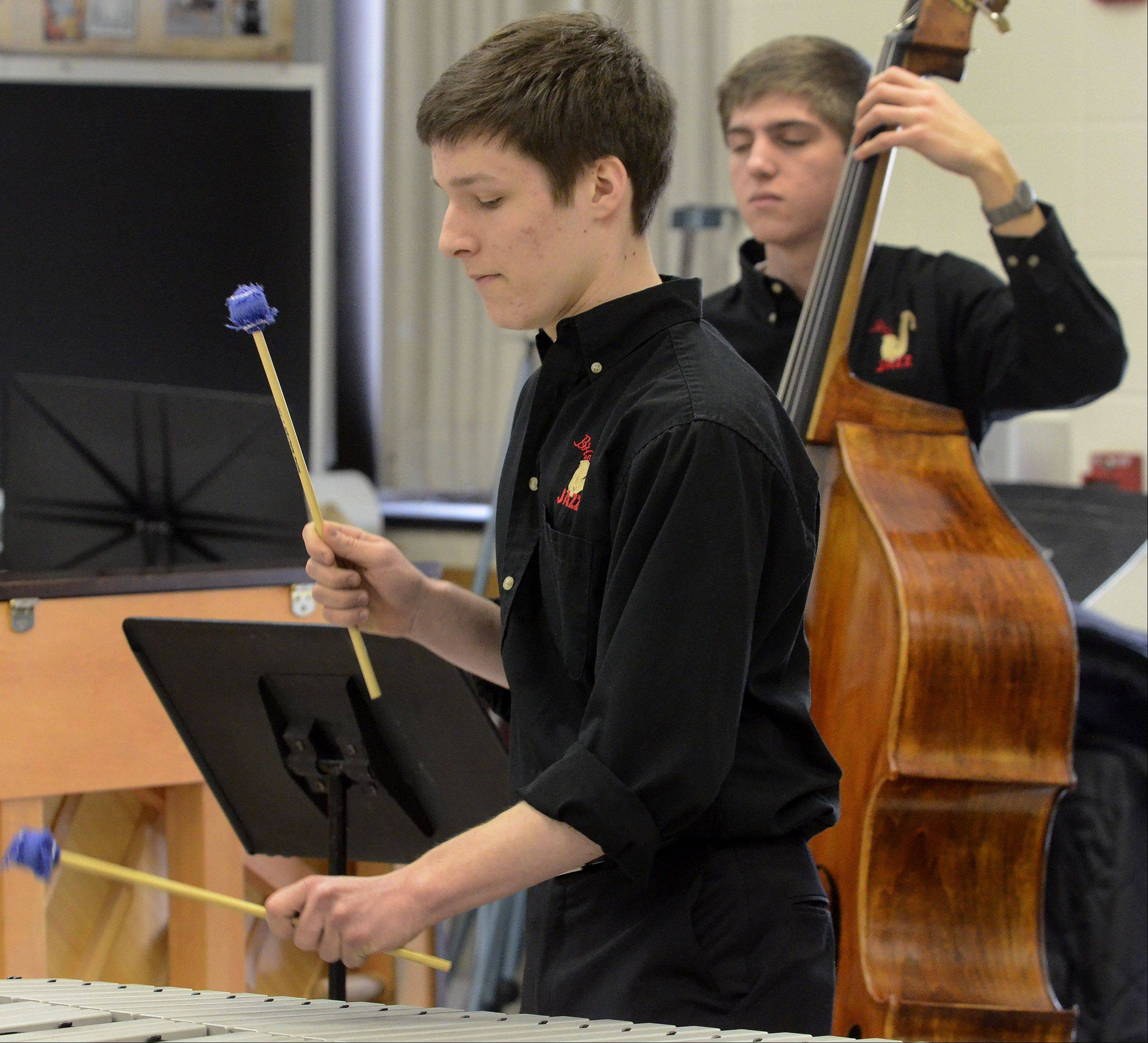 Ben Karon plays vibes for the Barrington High School jazz combo.