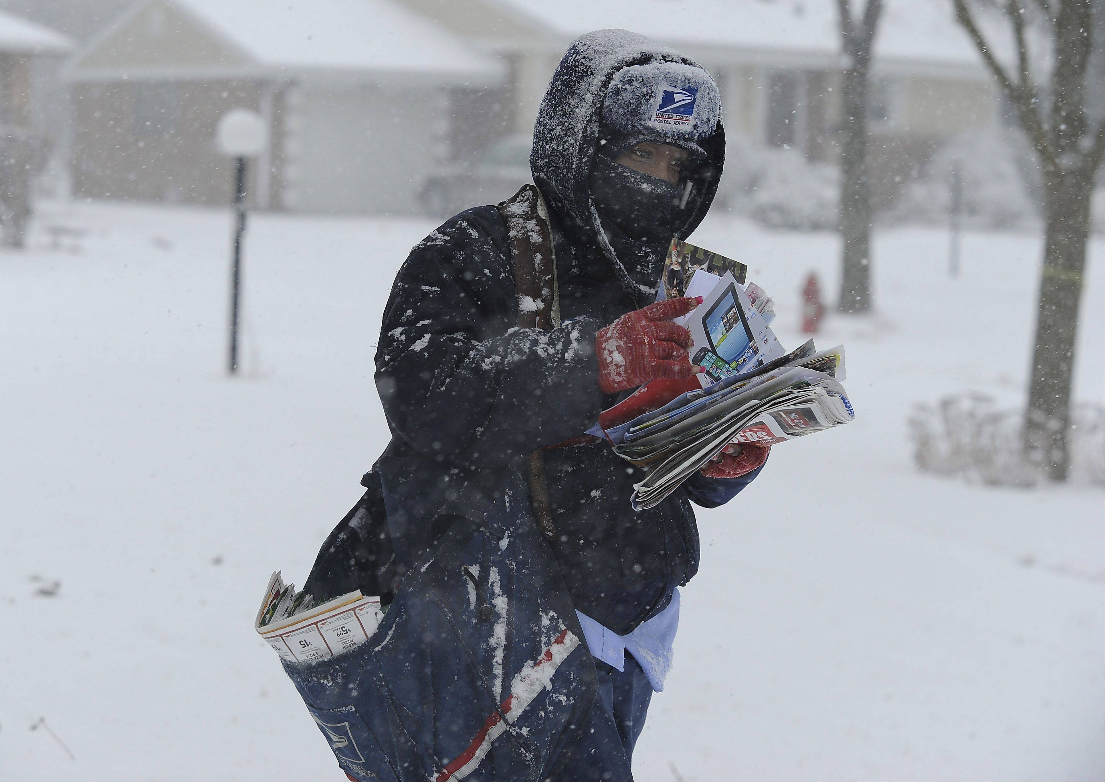 Arlington Heights mail carrier Tequilia Brock endures the wet heavy snow stating the fact that she hates it during her afternoon route a winter storm moves through the Northwest suburbs area on Tuesday.
