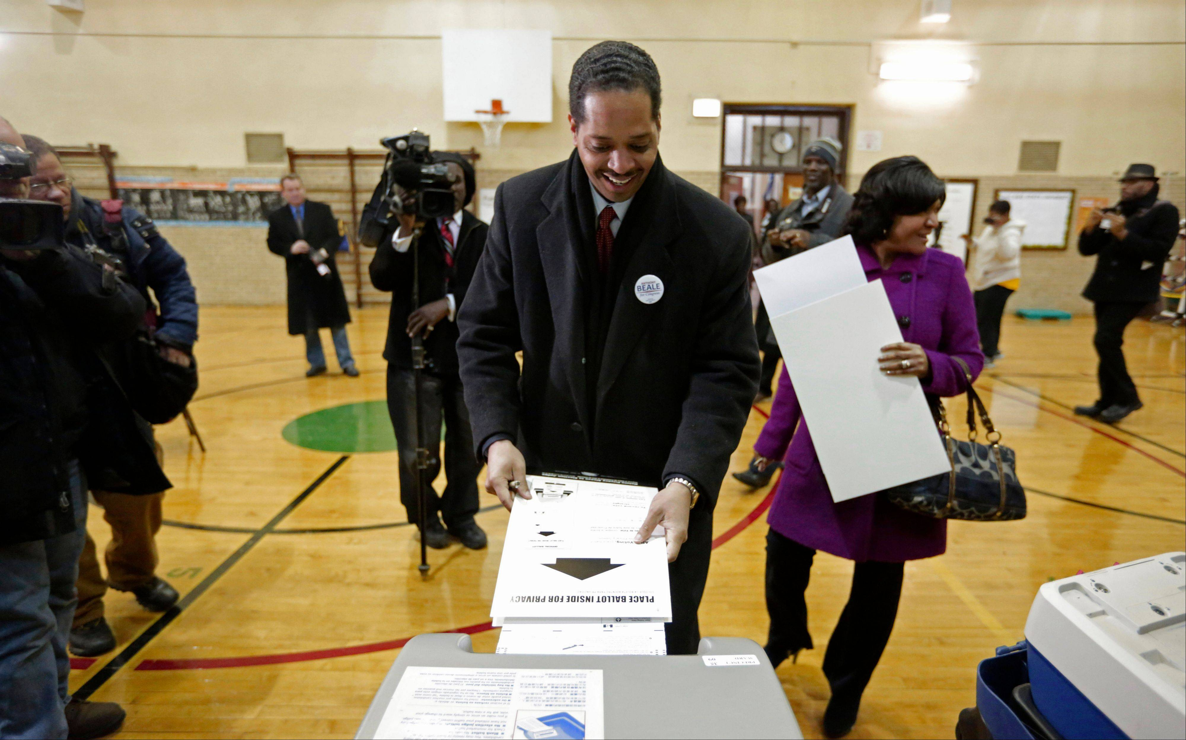 Chicago Alderman Anthony Beale, a Democrat, casts his vote in Tuesday's special primary election to replace former U.S. Rep. Jesse Jackson in Illinois' 2nd Congressional District.